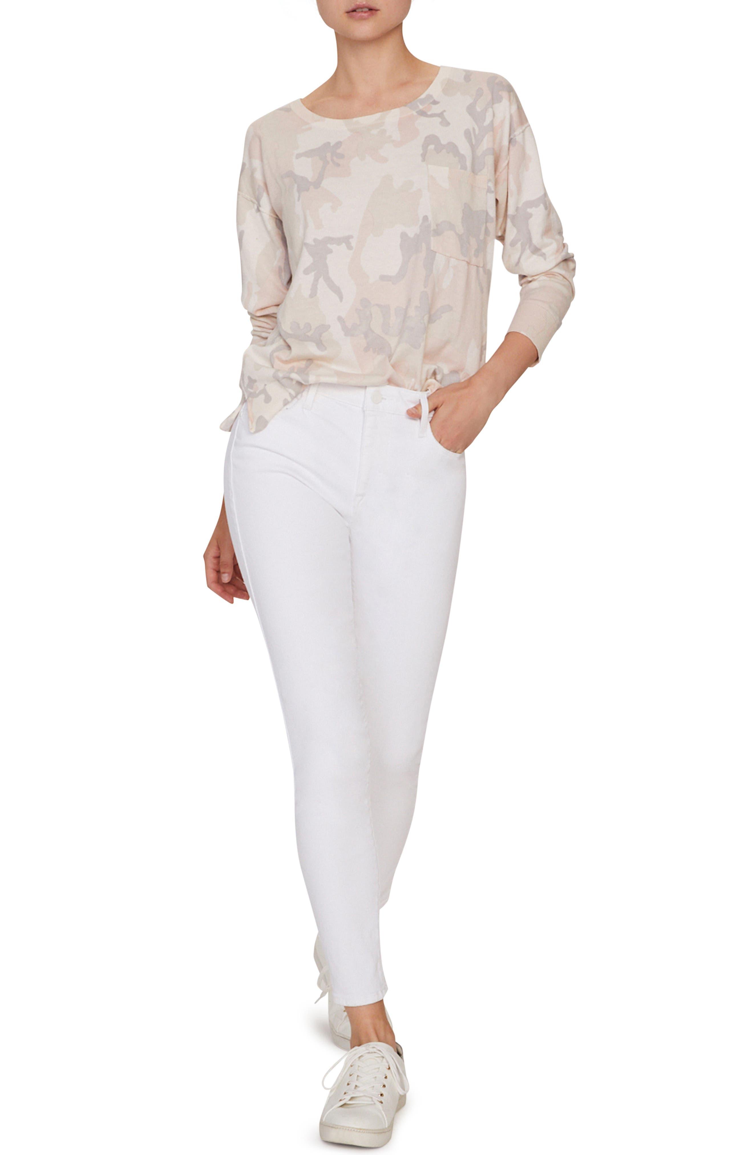 SANCTUARY, Pale Camo Cotton Blend Sweater, Alternate thumbnail 4, color, CHARM CAMO