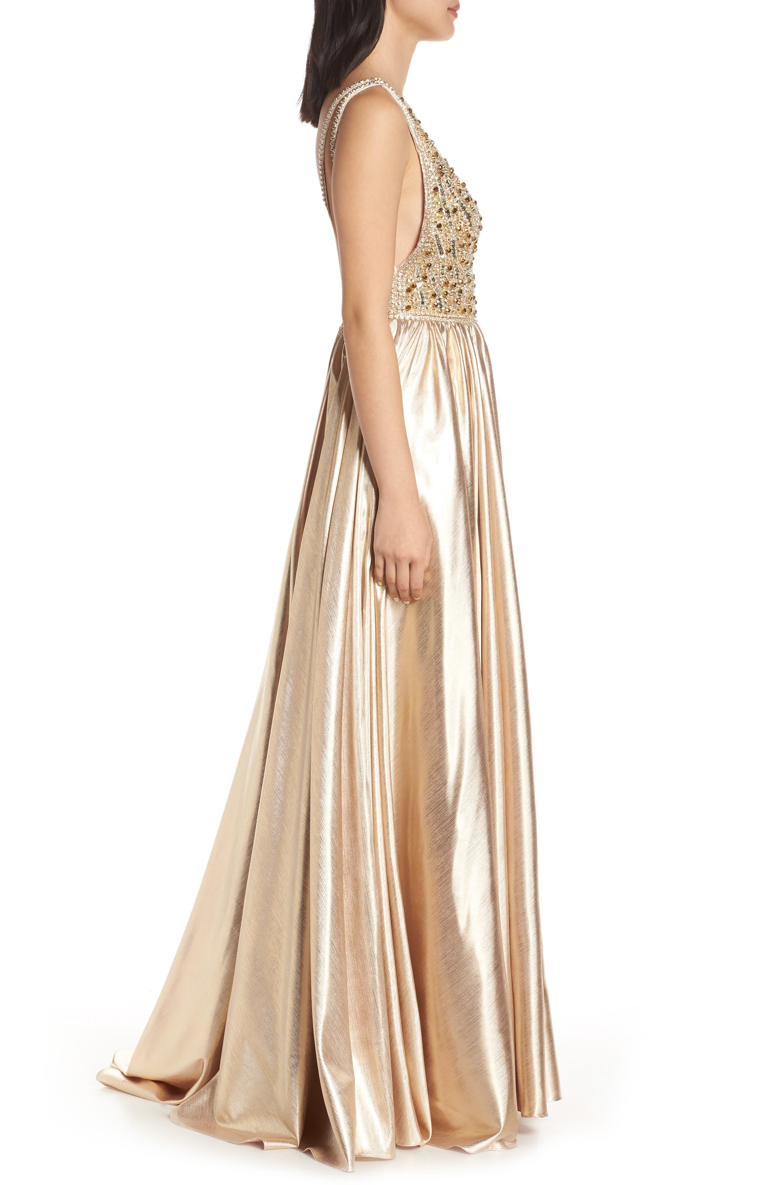 MAC DUGGAL, V-Neck Metallic Sequin Evening Dress, Alternate thumbnail 4, color, GOLD