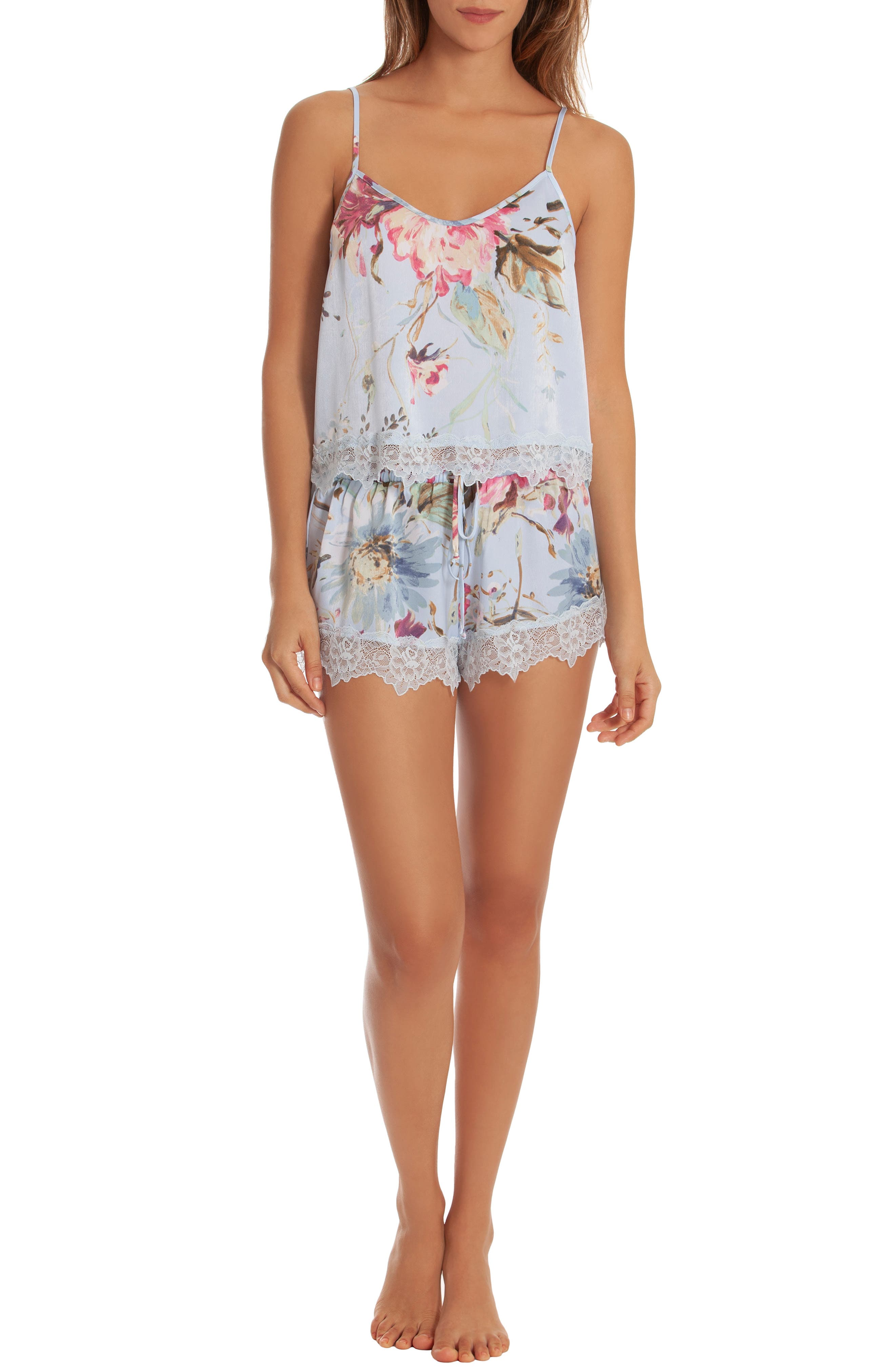 IN BLOOM BY JONQUIL, Chiffon Short Pajamas, Alternate thumbnail 5, color, BLUE ROSE PRINT