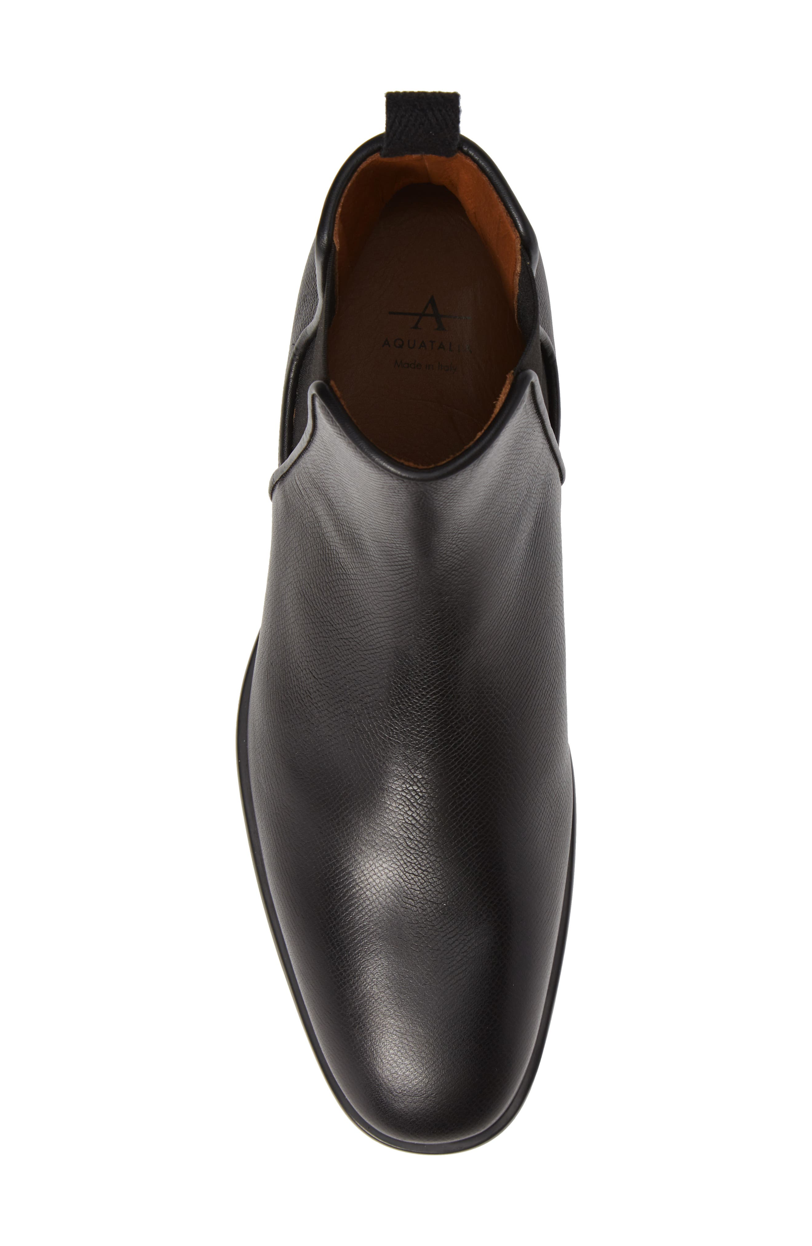 AQUATALIA, 'Adrian' Water Resistant Chelsea Boot, Alternate thumbnail 5, color, BLACK/ BLACK