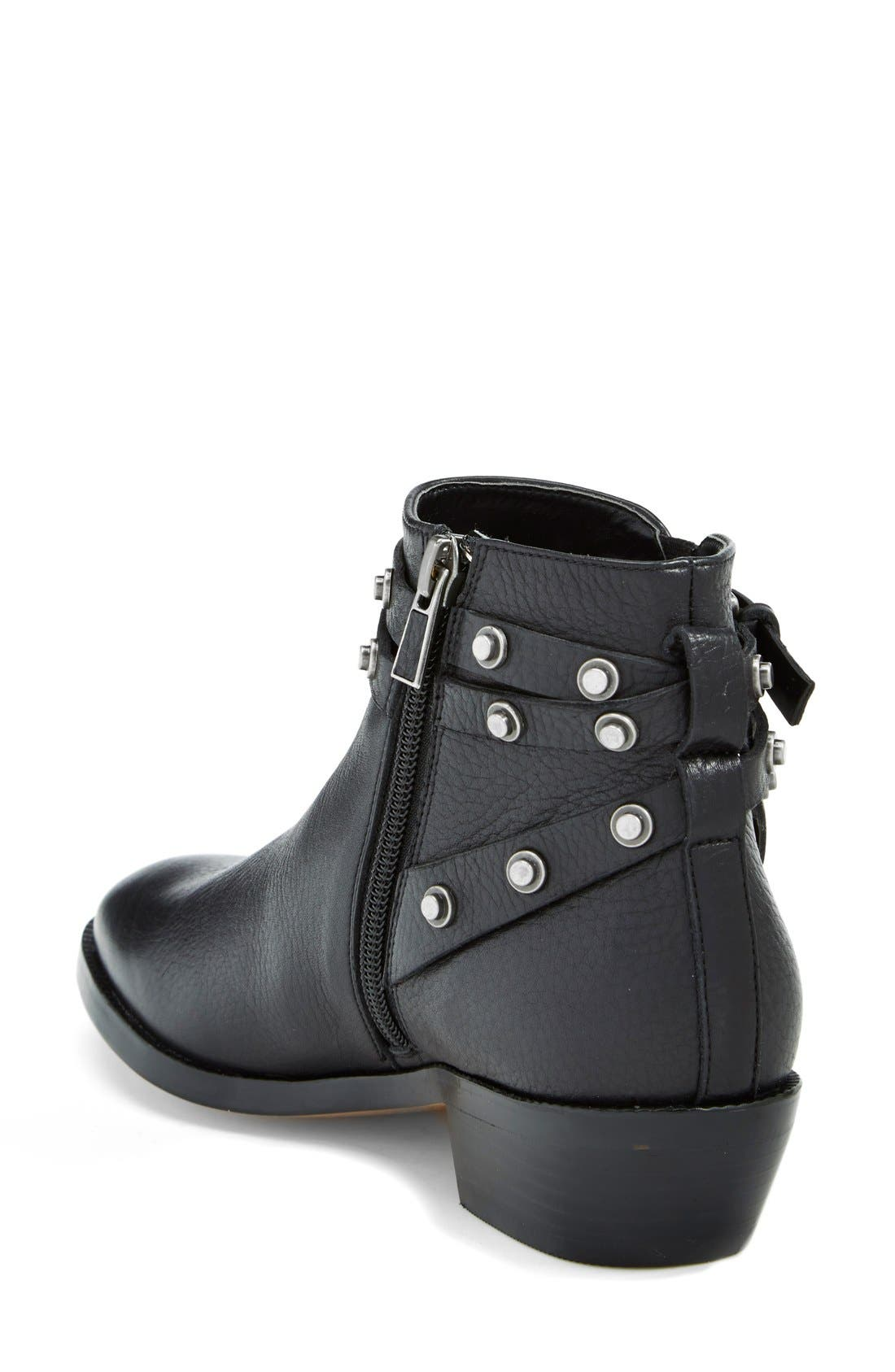 HALOGEN<SUP>®</SUP>, Halogen 'Lidia' Studded Leather Ankle Bootie, Alternate thumbnail 2, color, 001