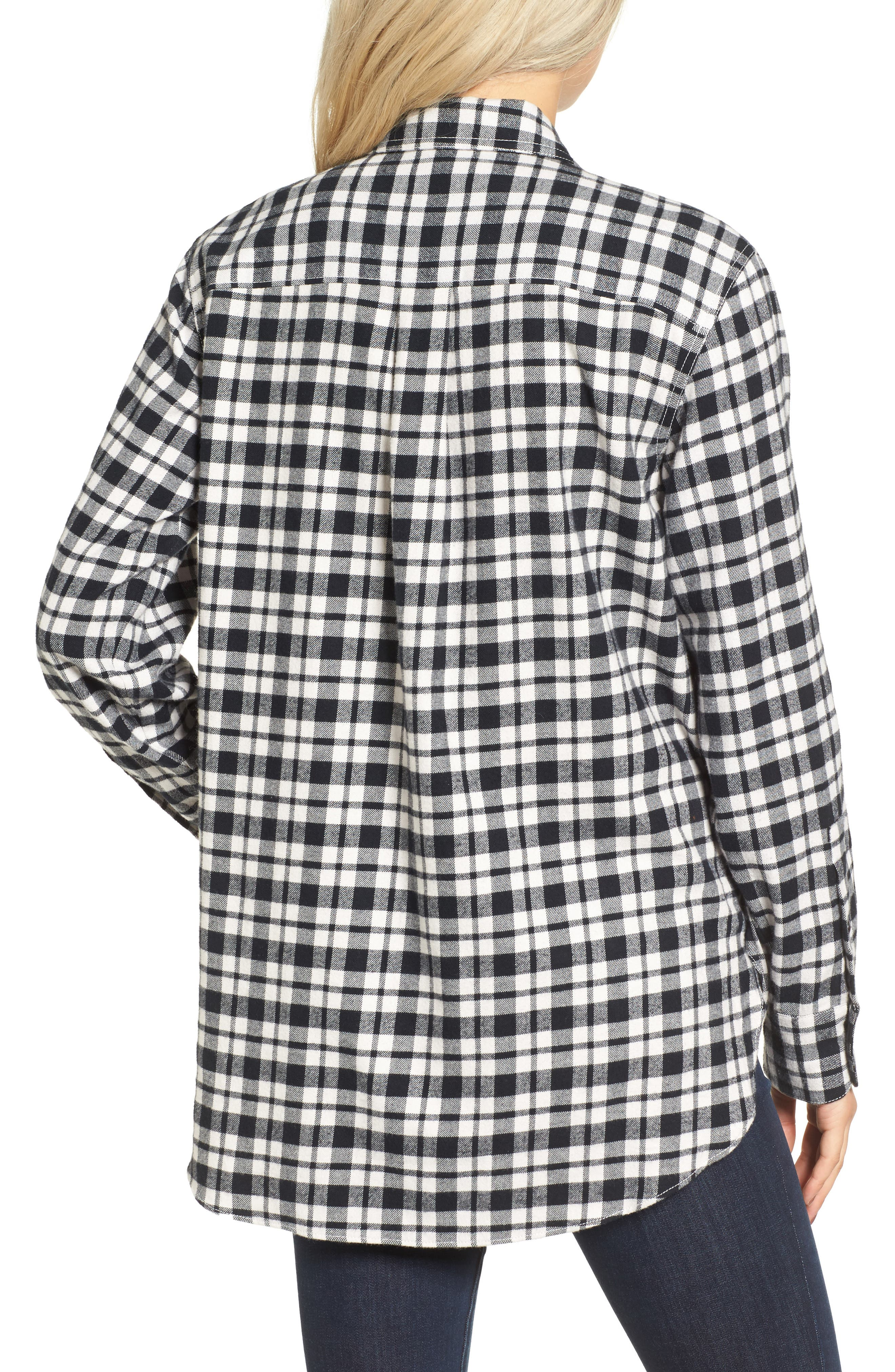 MADEWELL, Oversize Flannel Shirt, Alternate thumbnail 2, color, 002