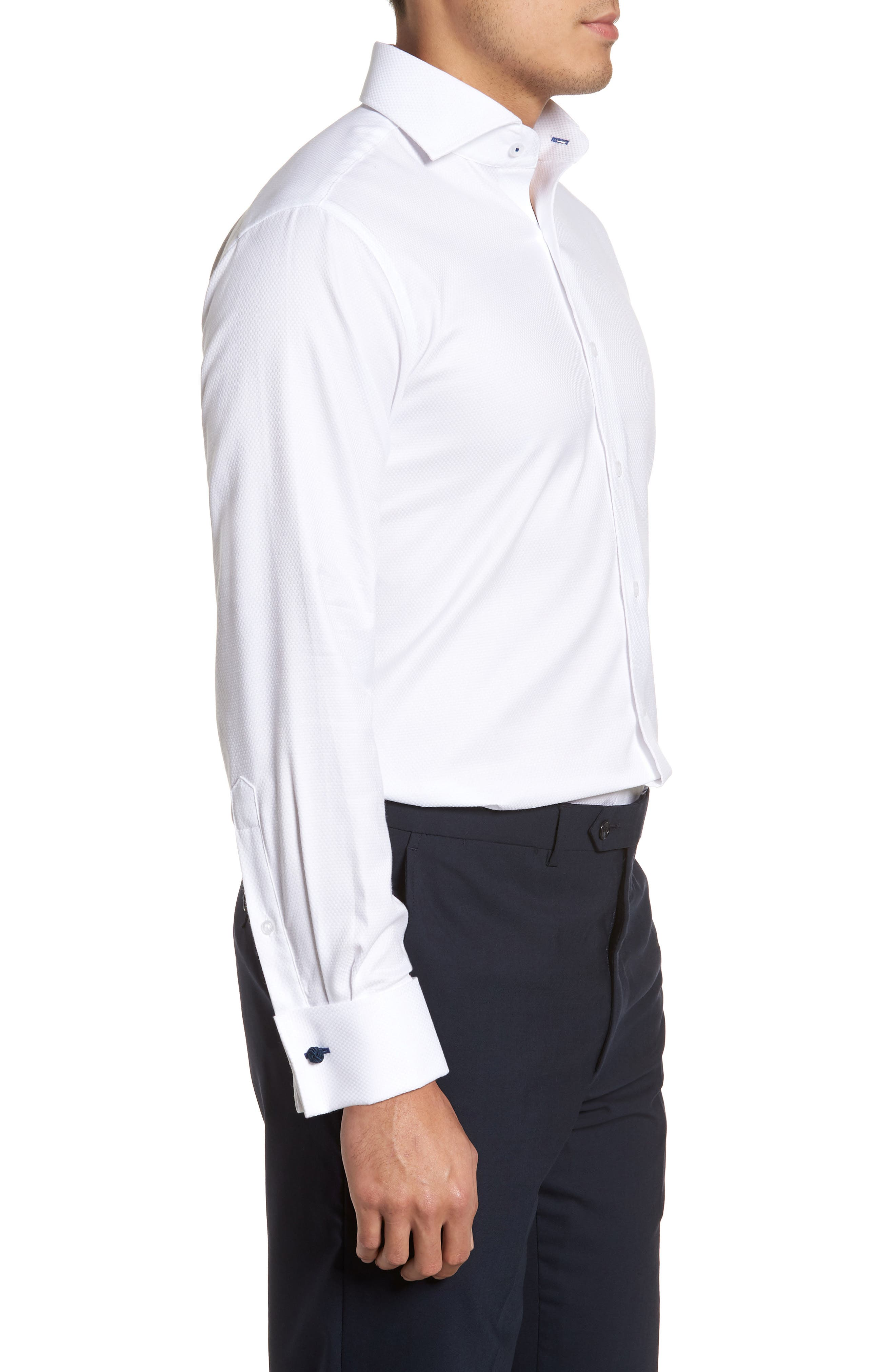 LORENZO UOMO, Trim Fit Basket Weave Dress Shirt, Alternate thumbnail 4, color, WHITE