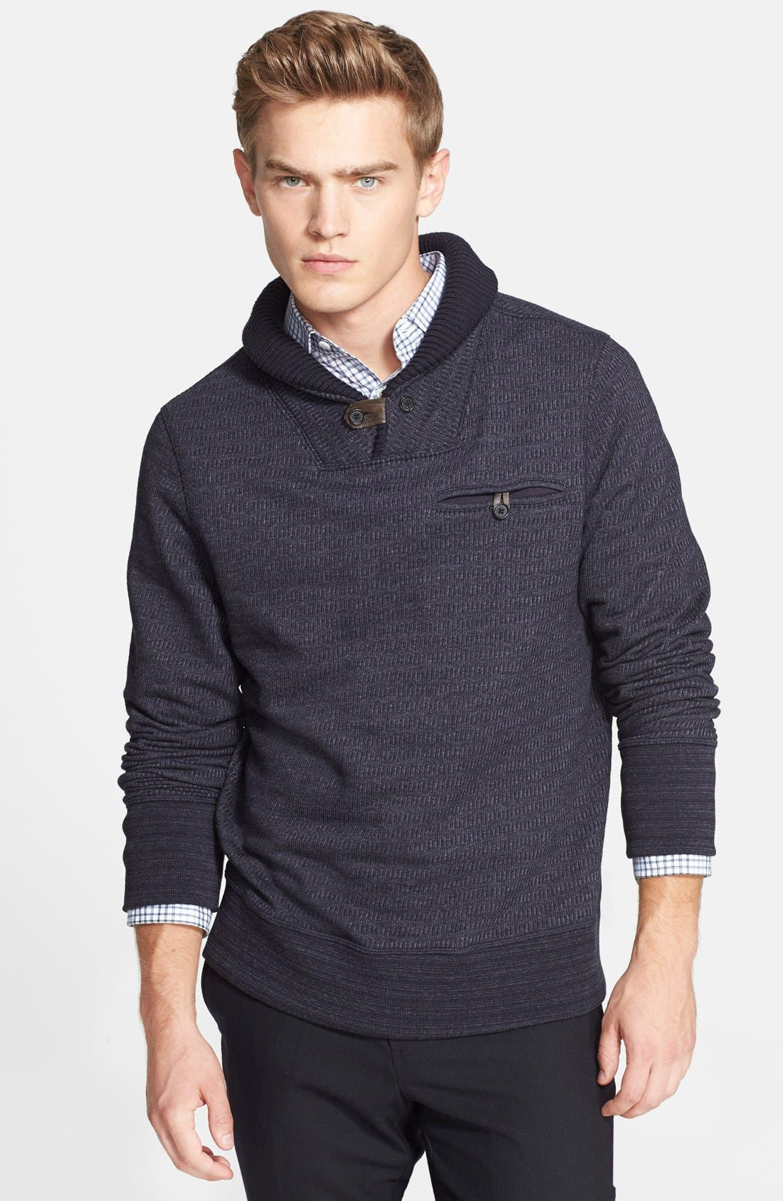BILLY REID, 'Shiloh' Shawl Collar Sweater, Main thumbnail 1, color, 410