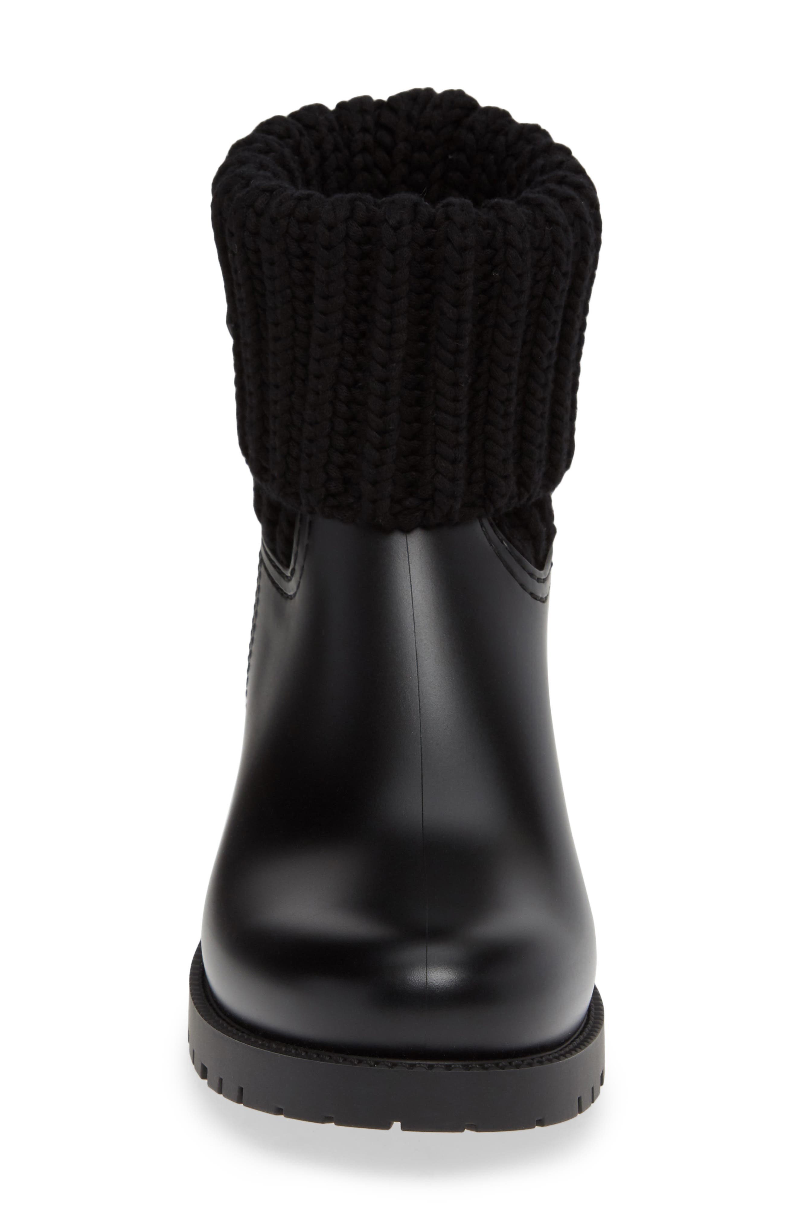 MONCLER, Ginette Stivale Knit Cuff Water Resistant Rain Boot, Alternate thumbnail 4, color, BLACK
