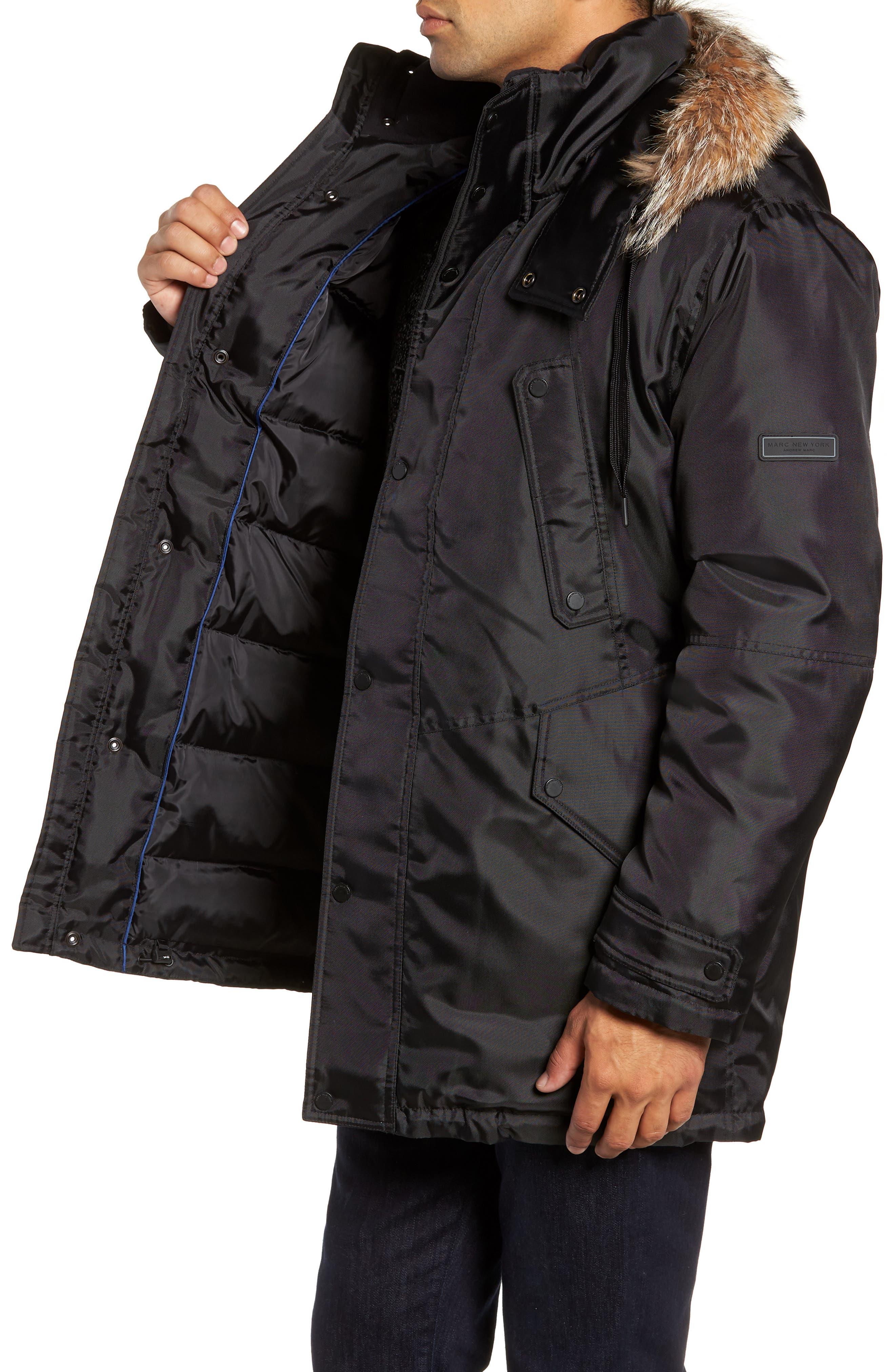 MARC NEW YORK, Lafayette Genuine Fur Trim Hooded Parka, Alternate thumbnail 4, color, BLACK