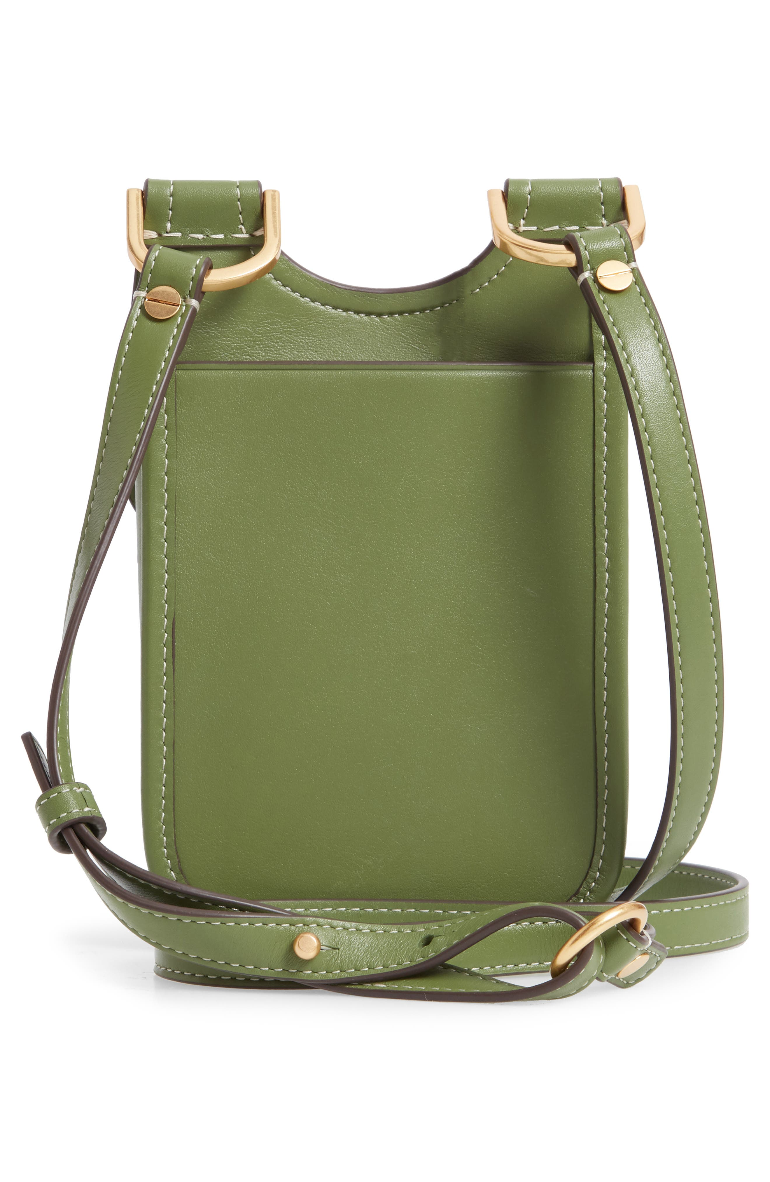 TORY BURCH, James Leather Phone Crossbody Bag, Alternate thumbnail 3, color, SPINACH