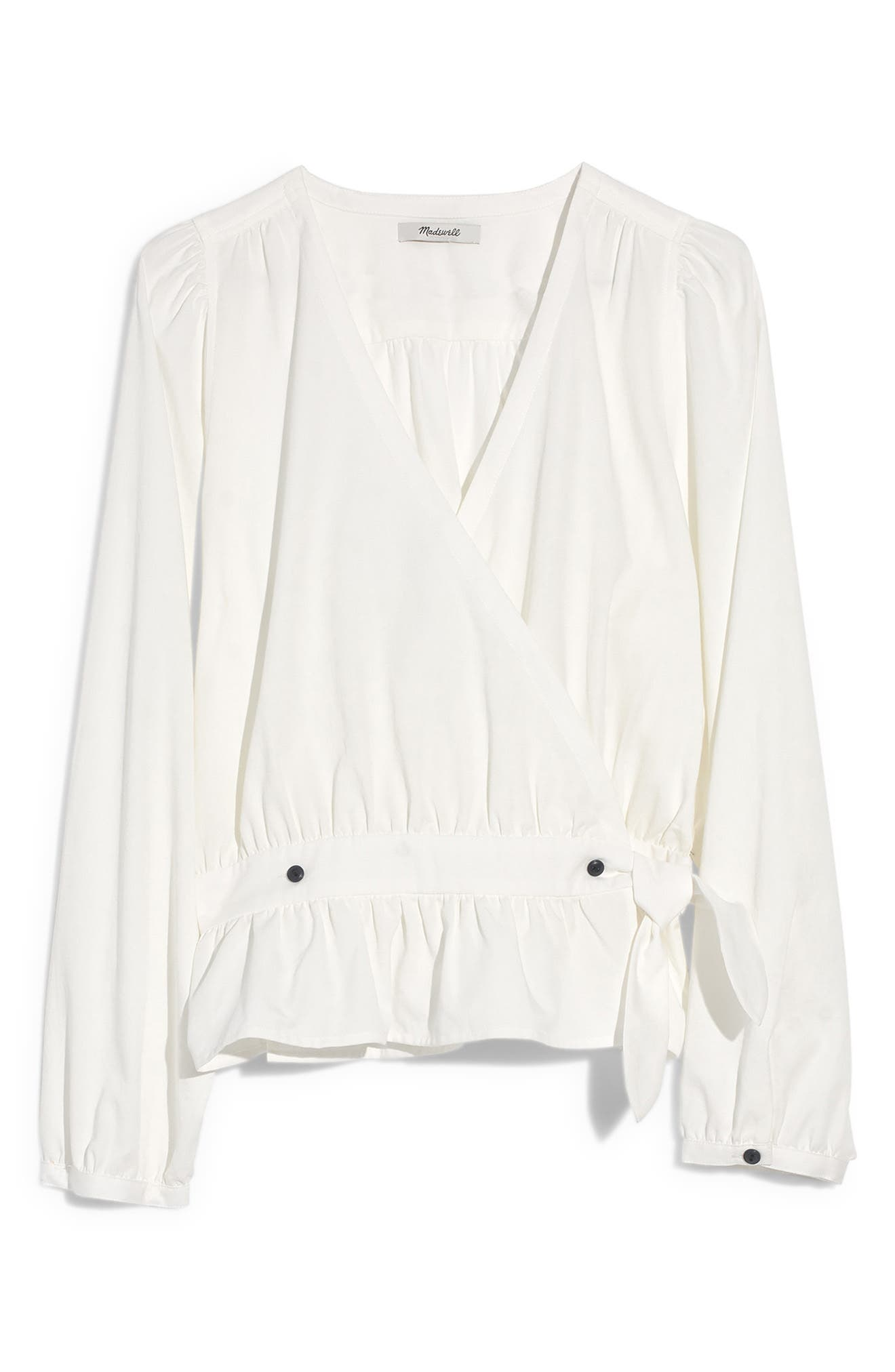 MADEWELL, Puff Sleeve Peplum Wrap Top, Alternate thumbnail 5, color, PURE WHITE