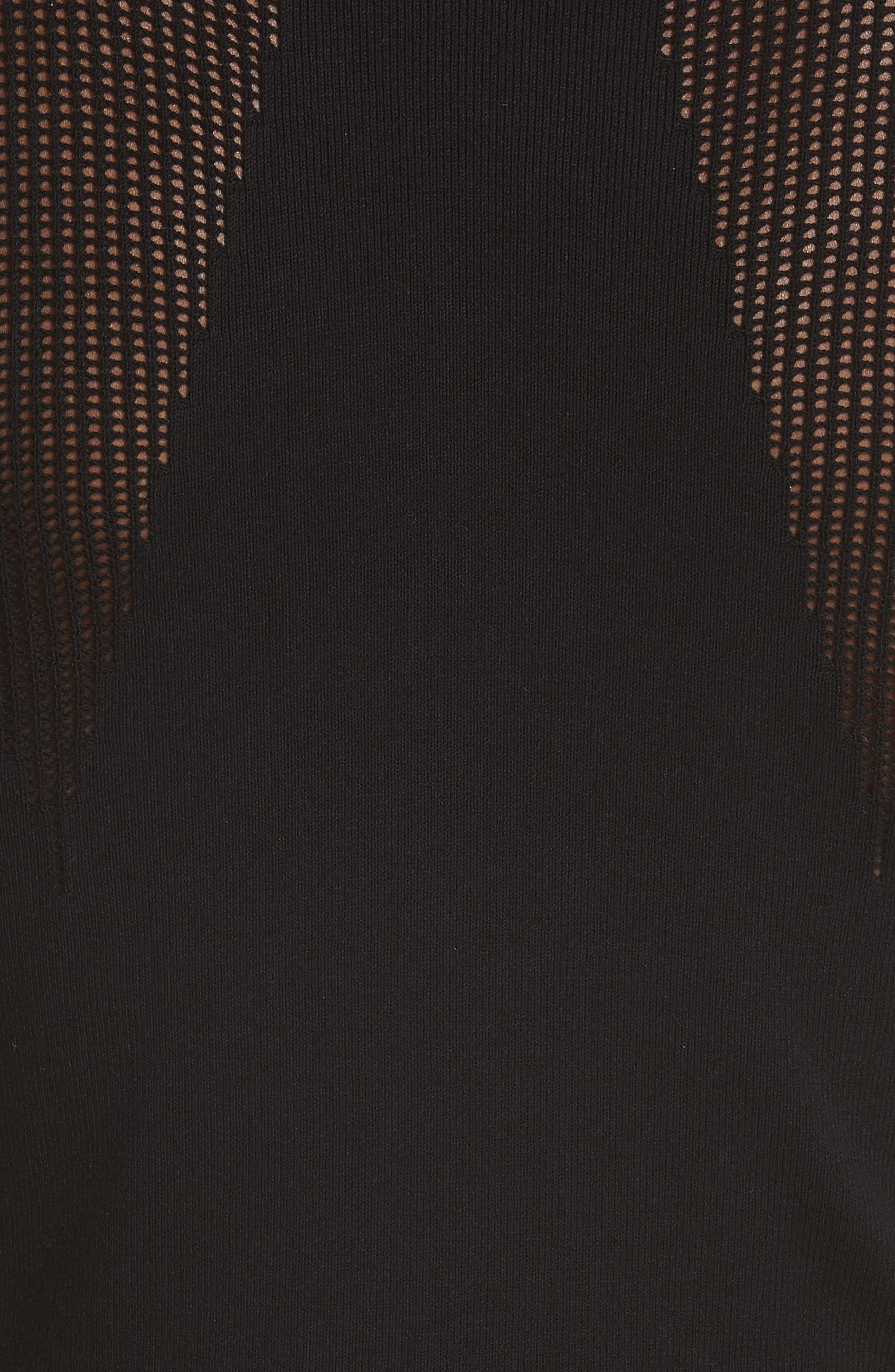 VERSACE COLLECTION, Logo Trim Body-Con Dress, Alternate thumbnail 6, color, BLACK