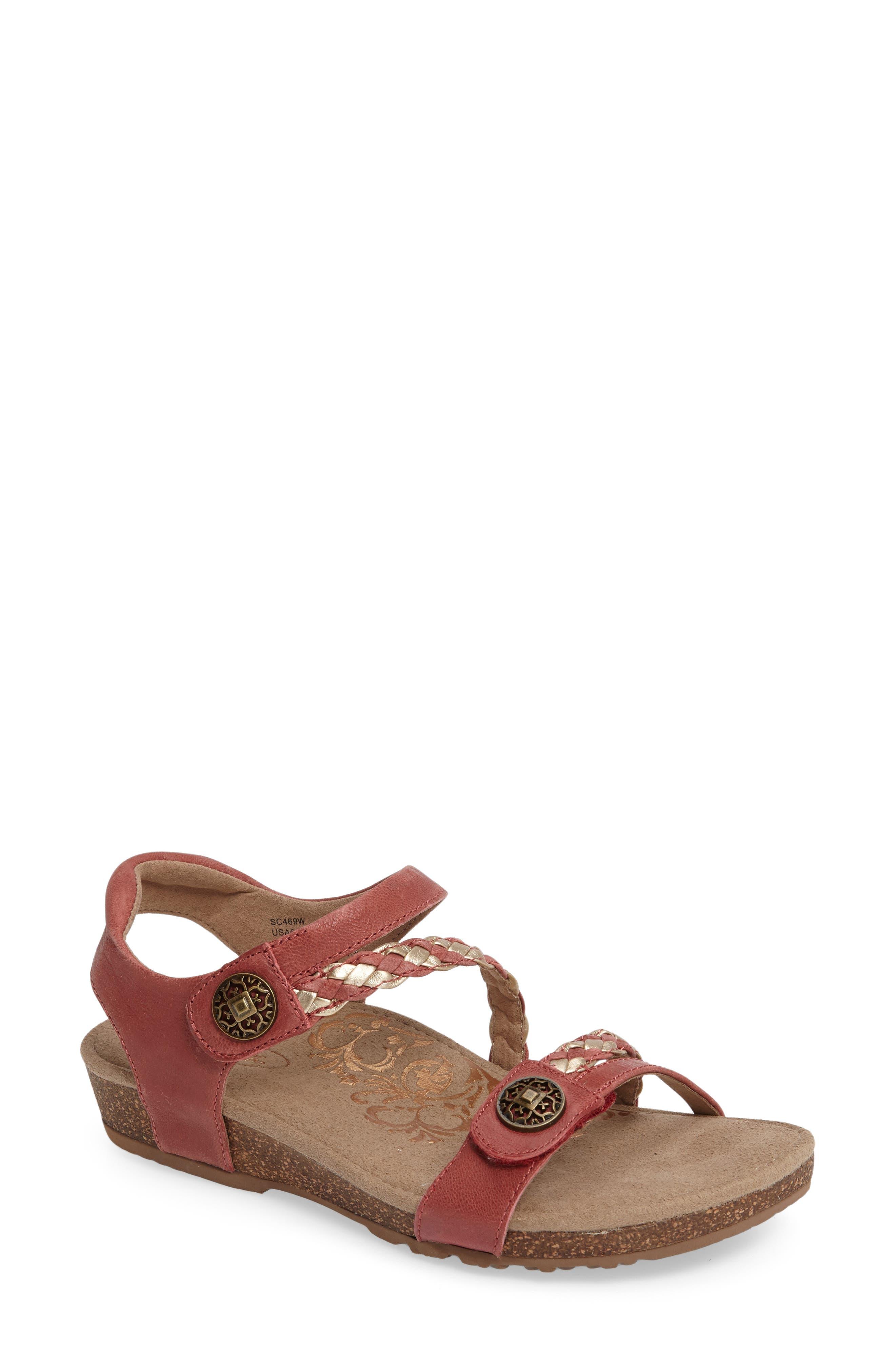 2bd404436c0 Aetrex  Jillian  Braided Leather Strap Sandal