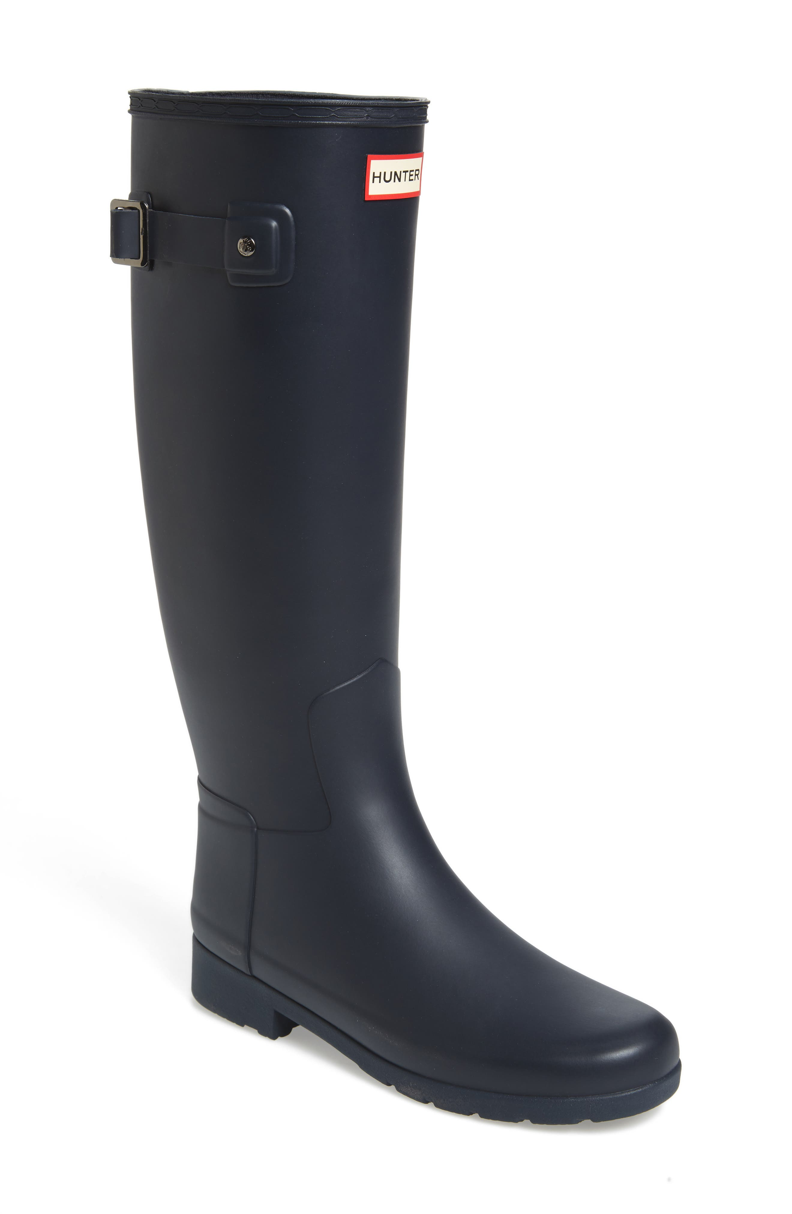 HUNTER, Original Refined Waterproof Rain Boot, Main thumbnail 1, color, NAVY