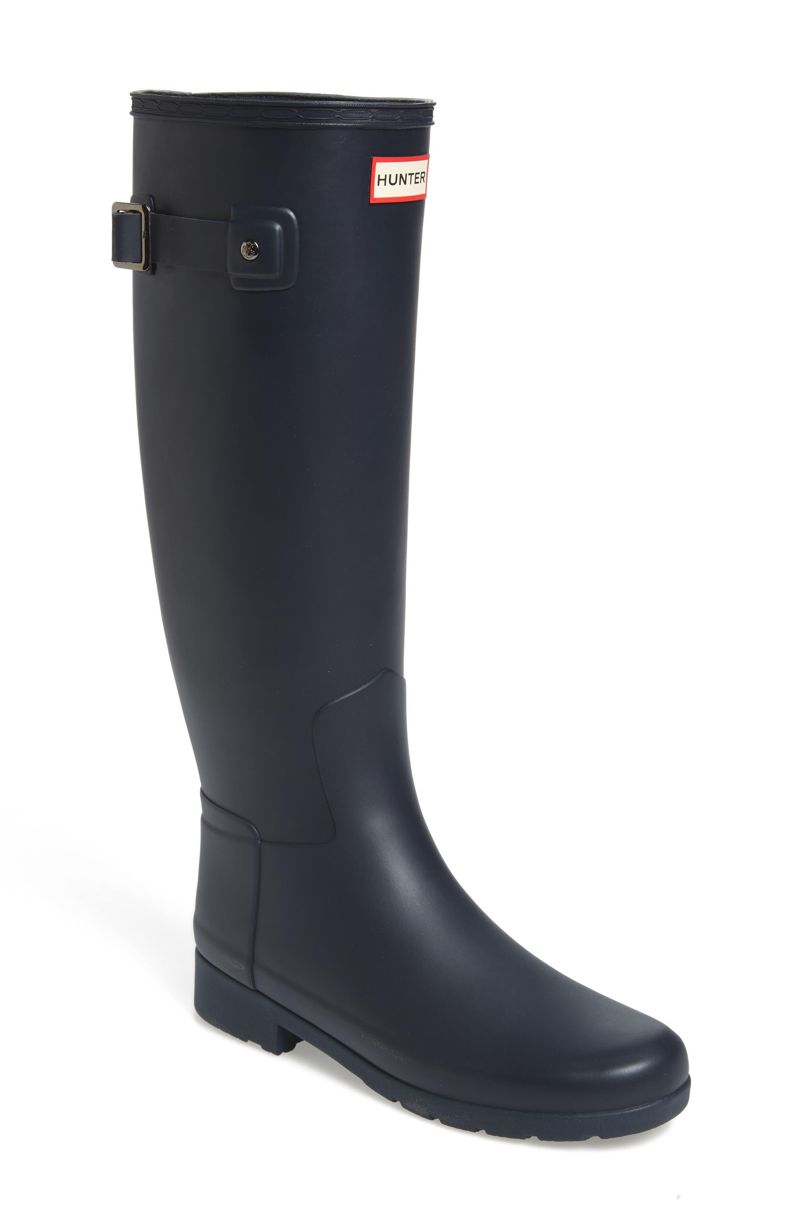 HUNTER Original Refined Waterproof Rain Boot, Main, color, NAVY