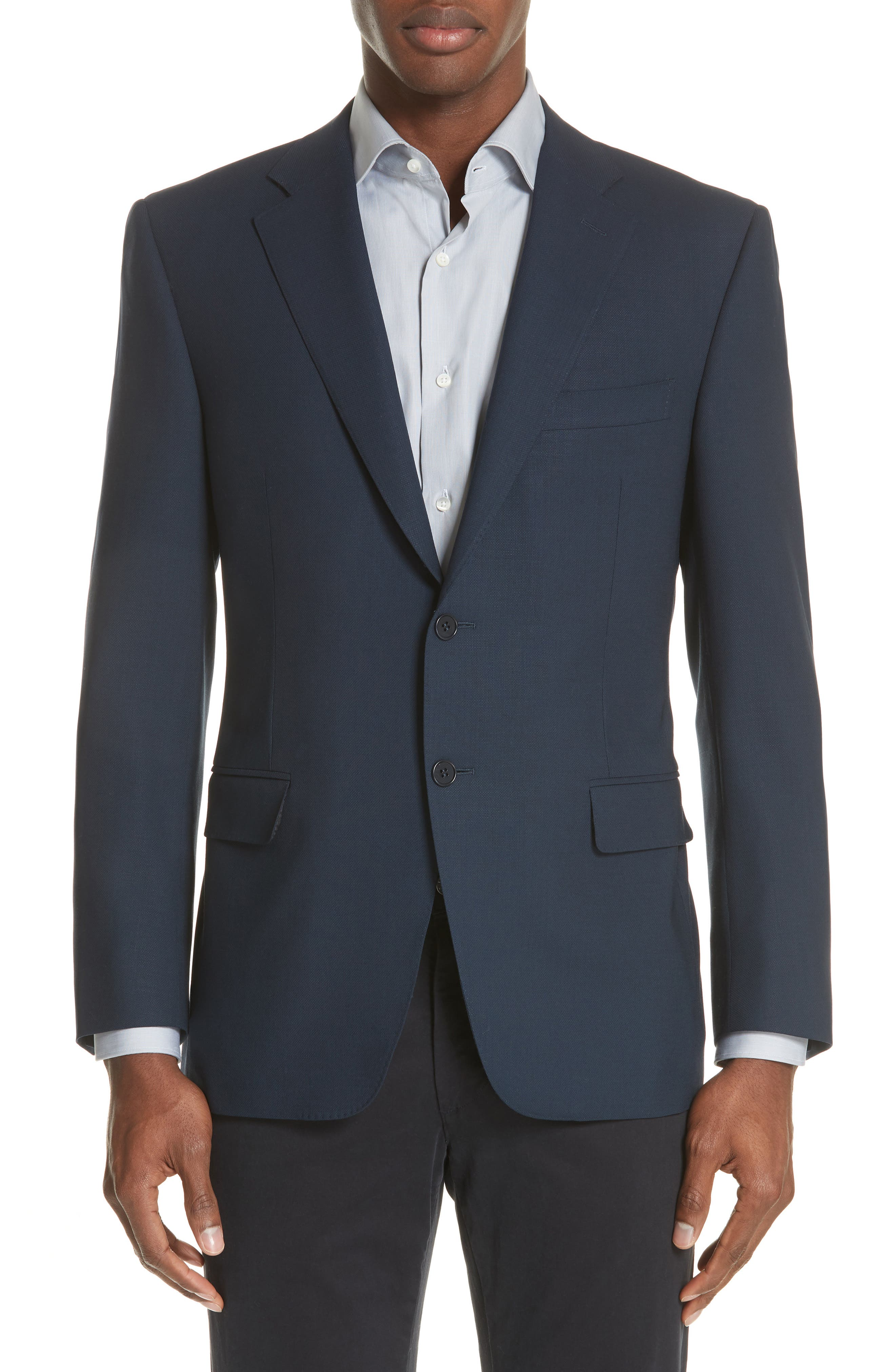 CANALI, Classic Fit Wool Blazer, Main thumbnail 1, color, NAVY