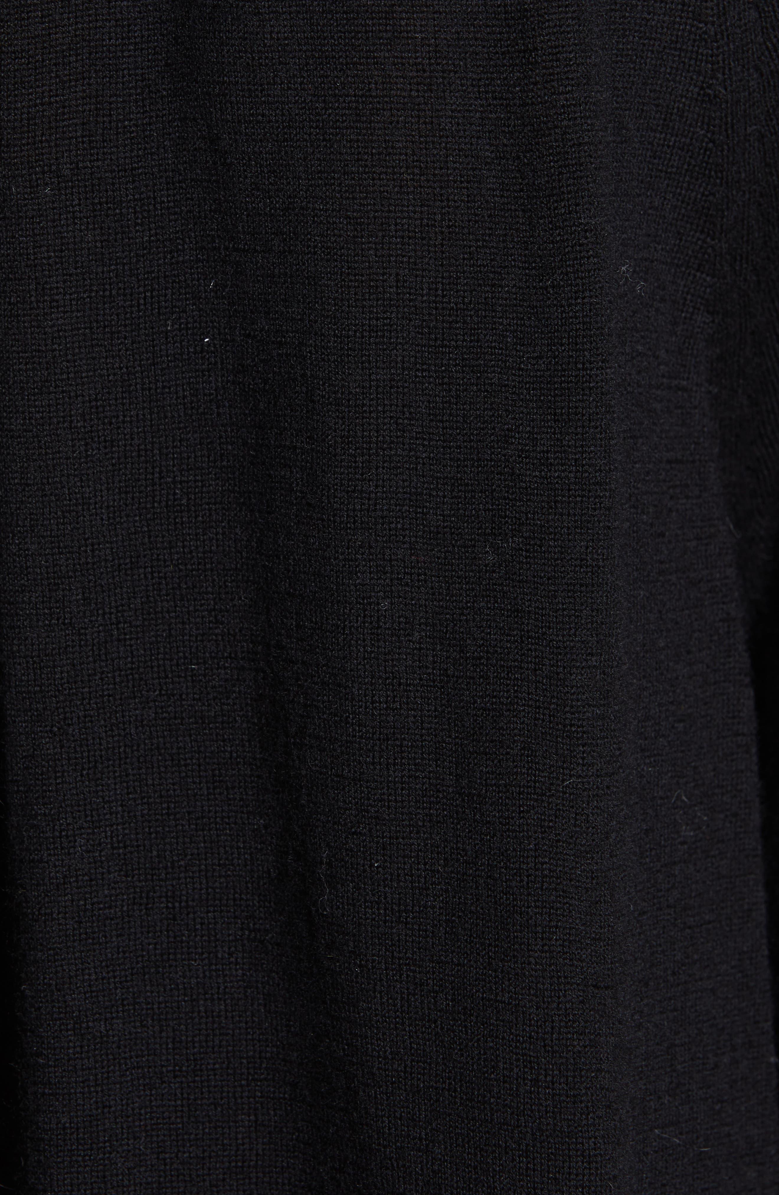 CO, Cashmere High Neck Blouson Sweater, Alternate thumbnail 5, color, BLACK