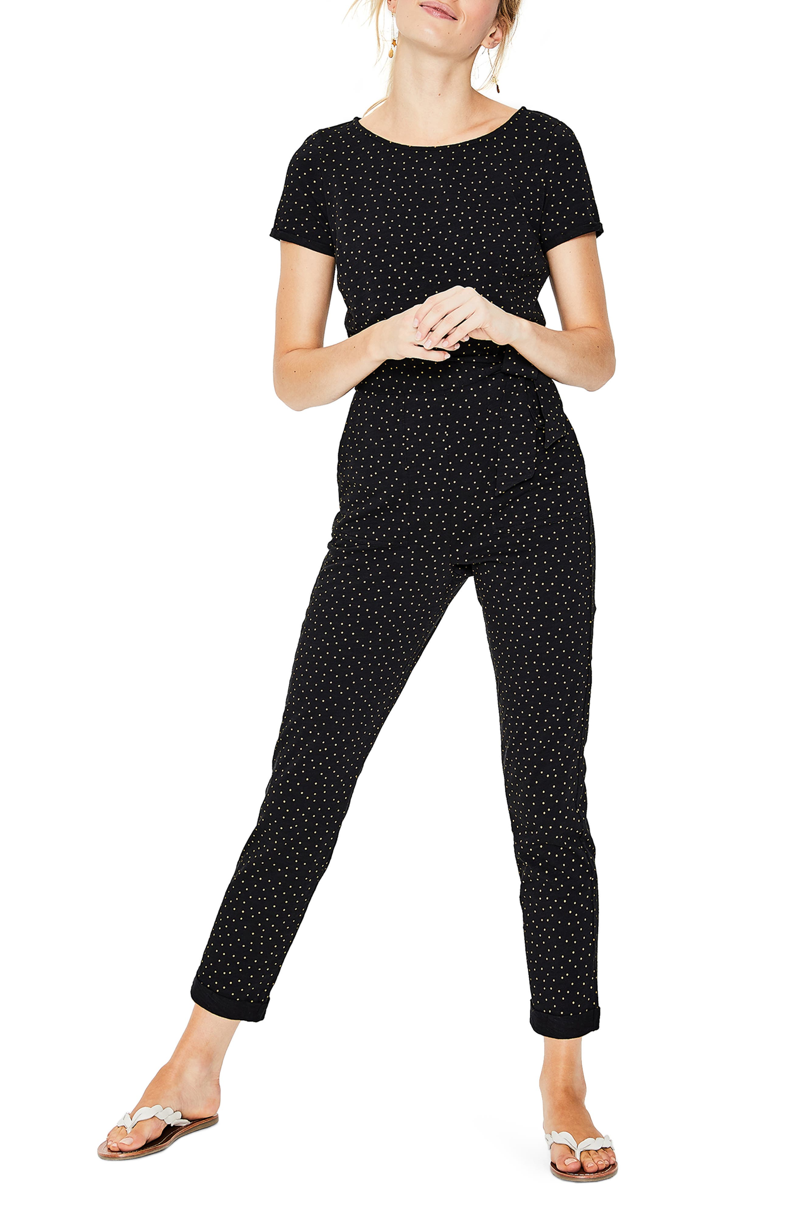 BODEN, Caitlin Jersey Jumpsuit, Main thumbnail 1, color, BLACK/ SOFT TRUFFLE SPOT