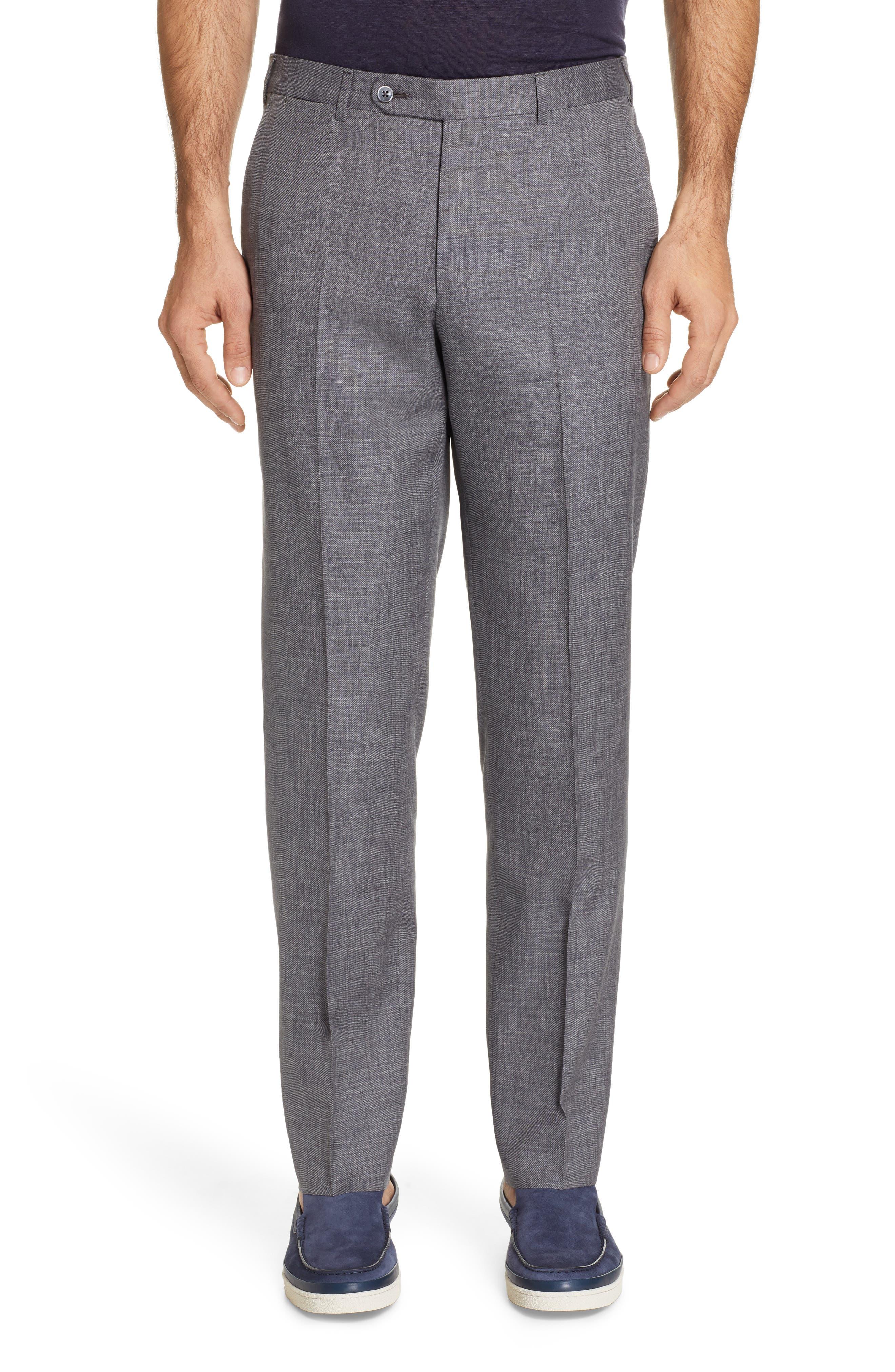 ERMENEGILDO ZEGNA, Milano Trim Fit Solid Wool & Silk Suit, Alternate thumbnail 6, color, GREY