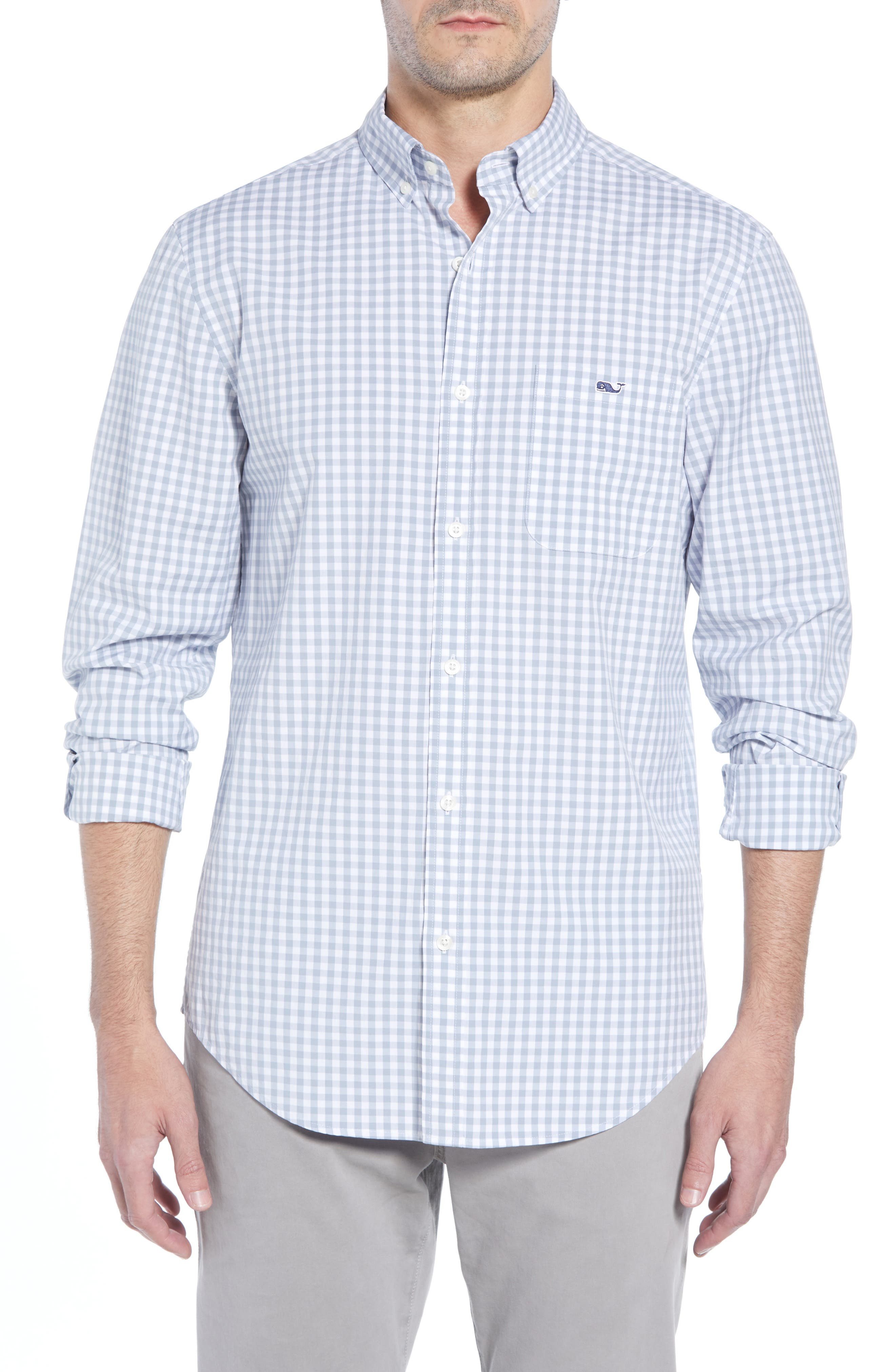 VINEYARD VINES, Carleton Classic Fit Gingham Buttondown Shirt, Main thumbnail 1, color, 023