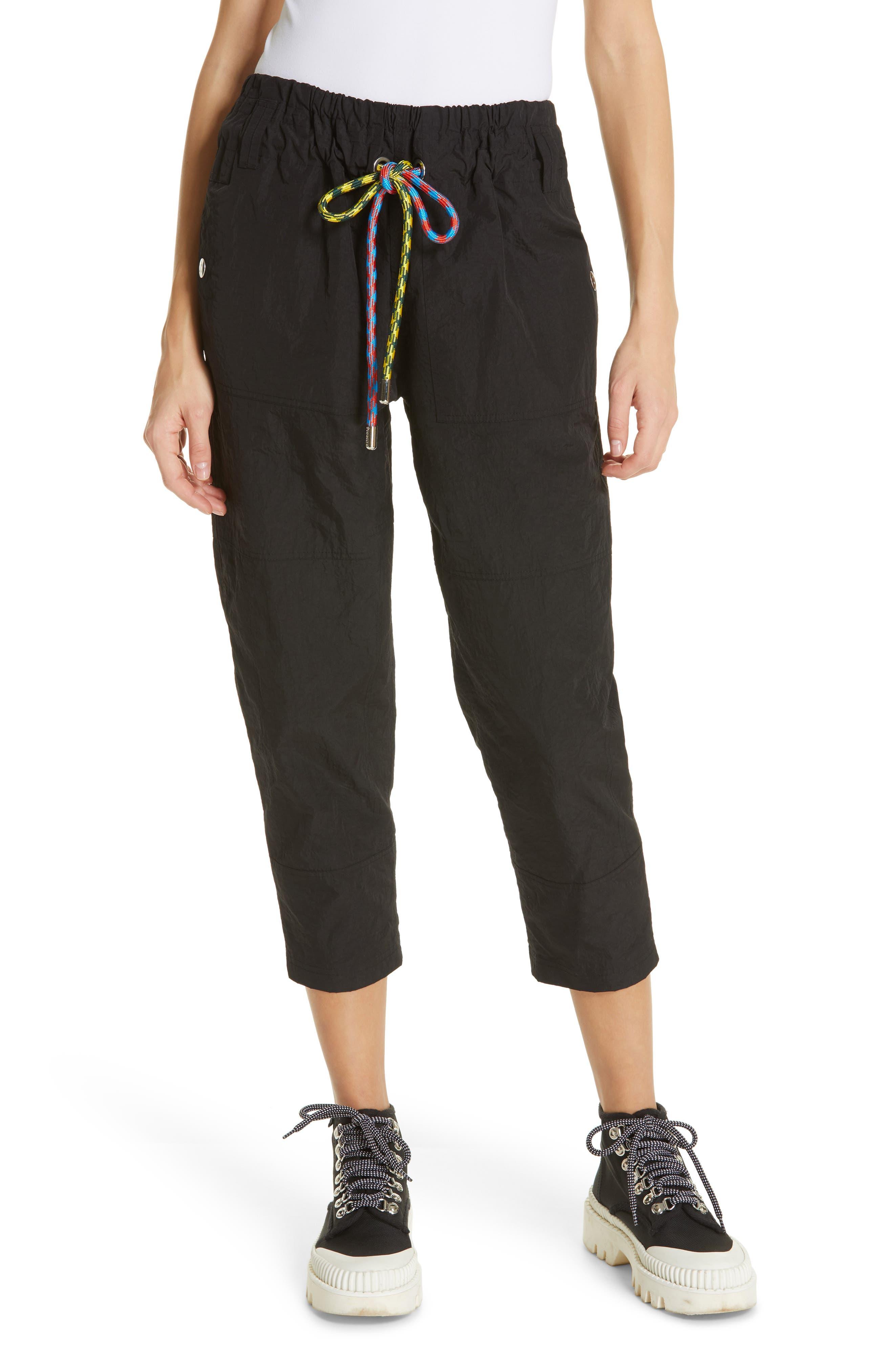 PROENZA SCHOULER PSWL Drawstring Waist Parachute Pants, Main, color, BLACK
