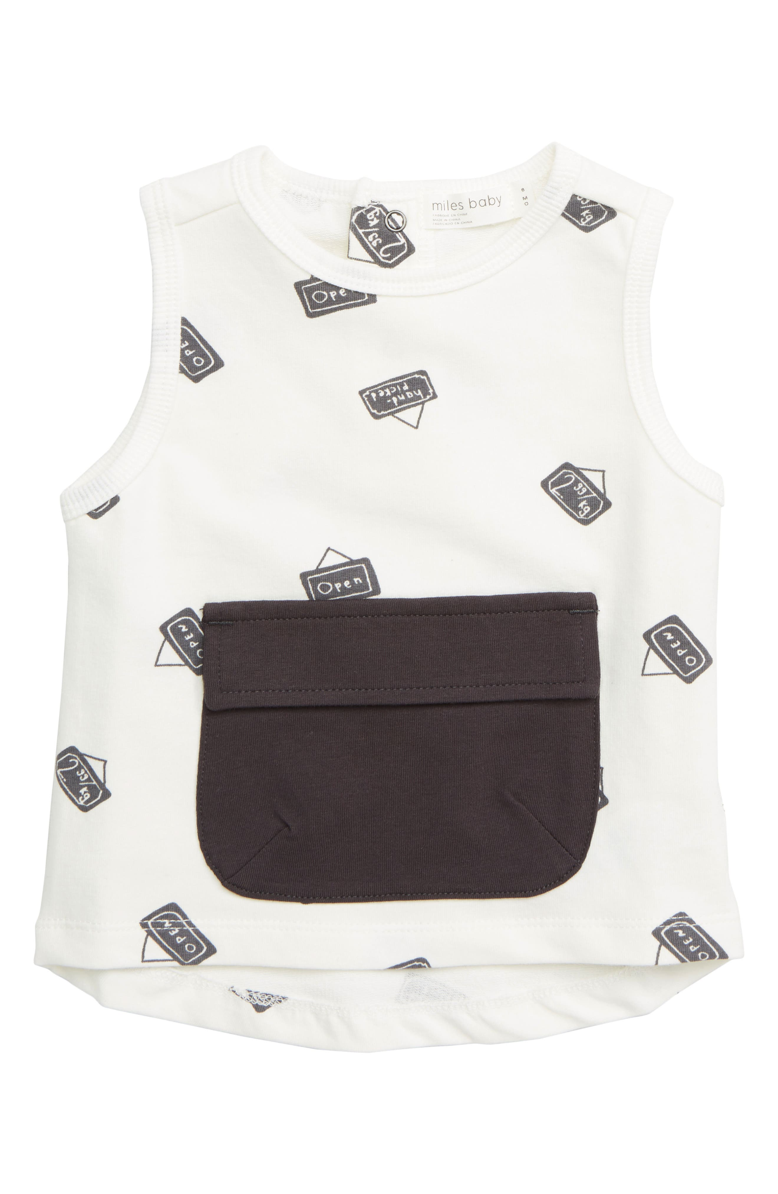 Infant Boys Miles Baby Pocket Tank Top Size 6M  Ivory