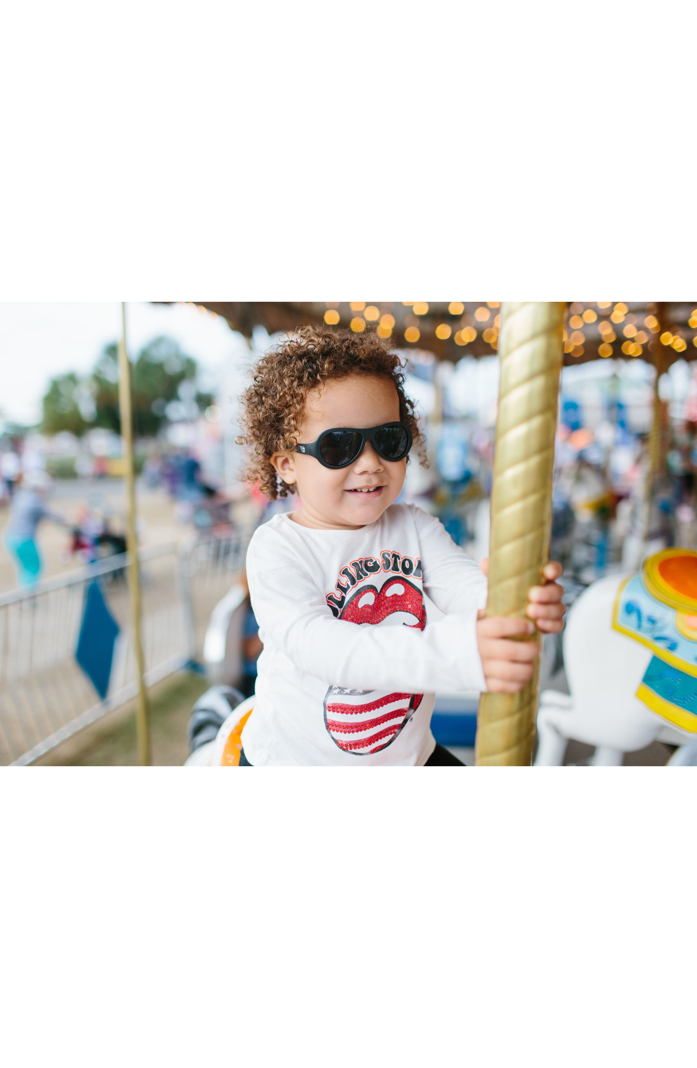 BABIATORS, 'Junior Babiators' Sunglasses, Alternate thumbnail 4, color, BLACK