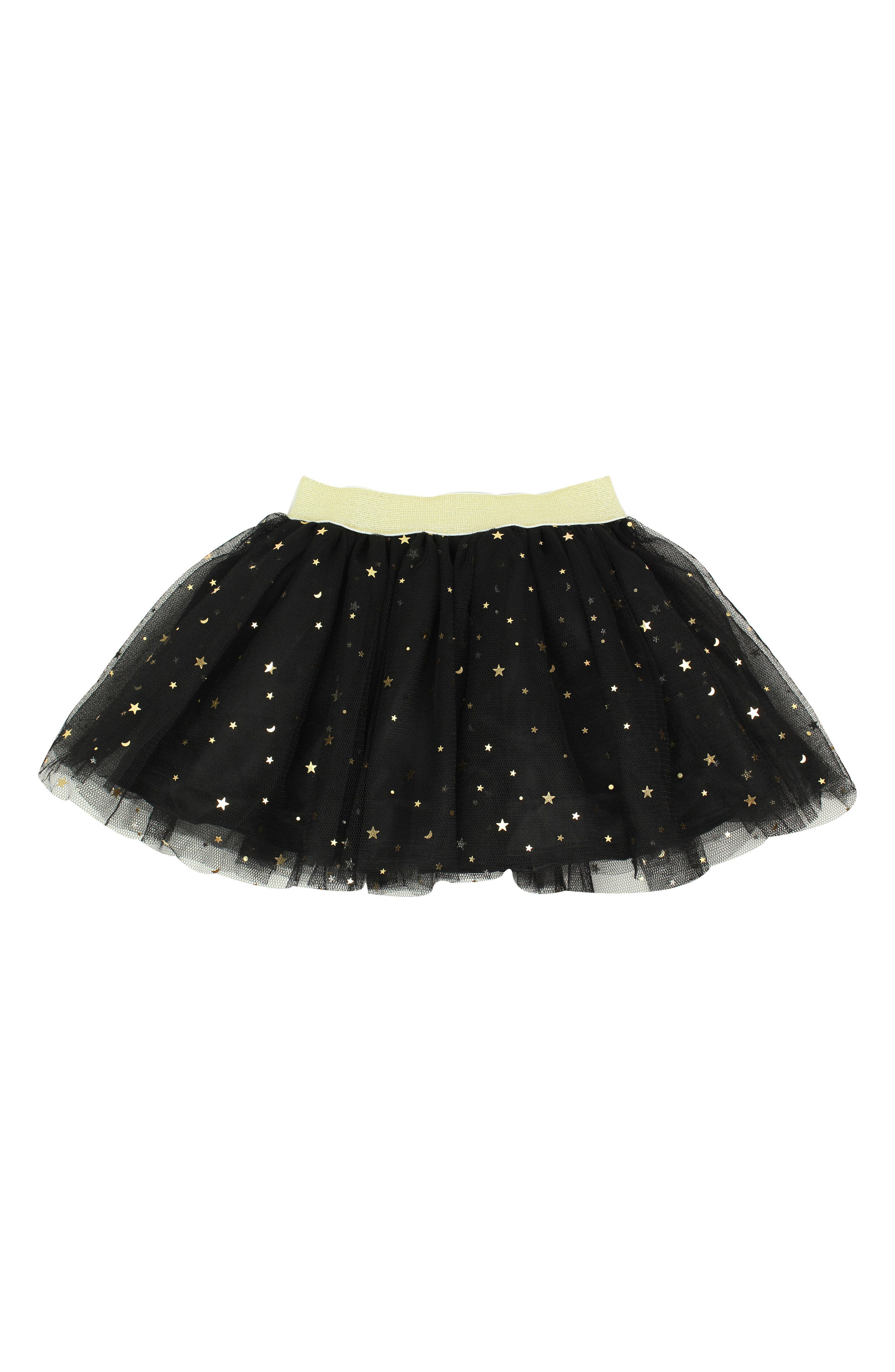 POPATU, Metallic Star Tulle Skirt, Main thumbnail 1, color, BLACK