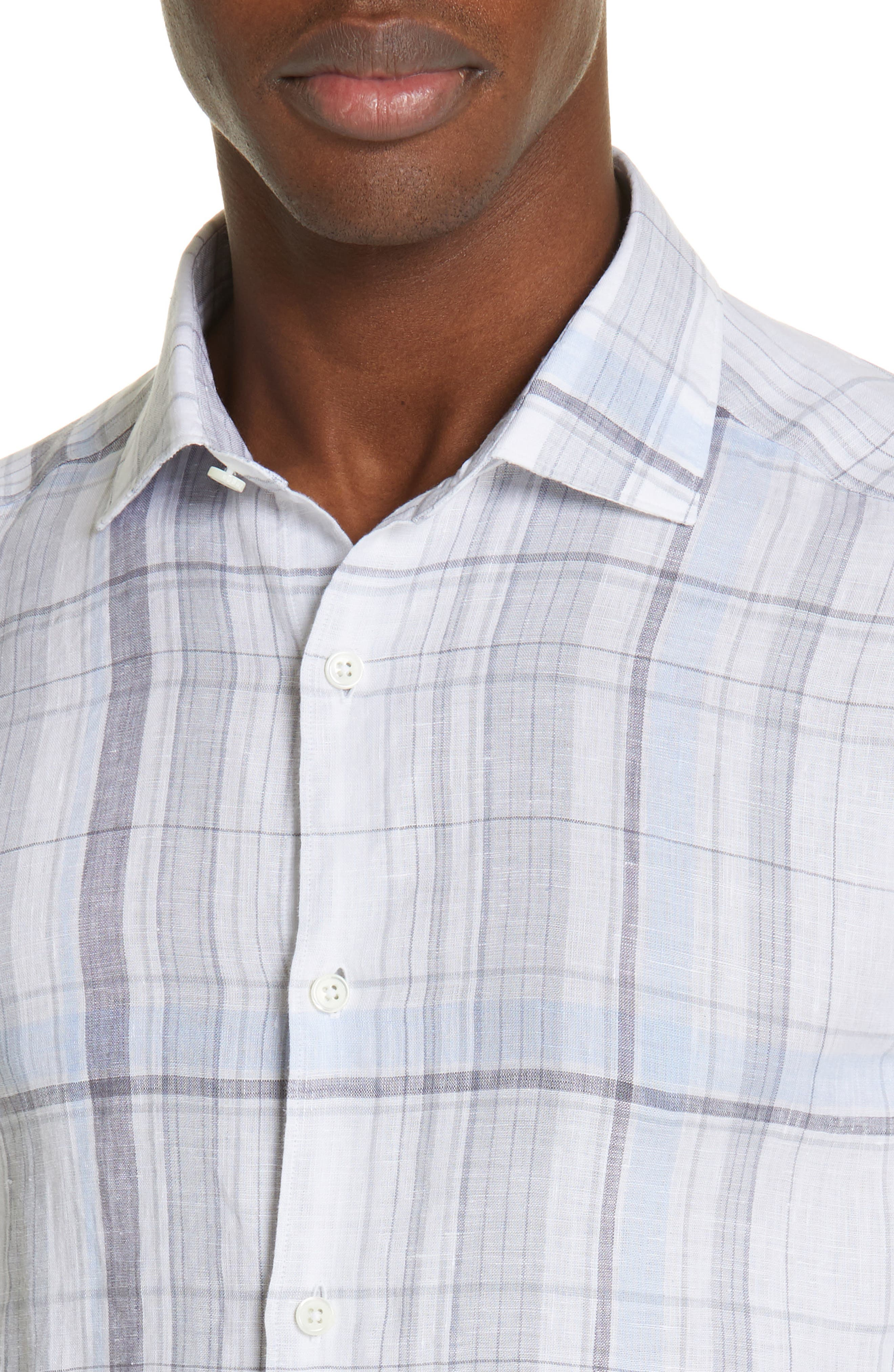 ERMENEGILDO ZEGNA, Regular Fit Plaid Linen Sport Shirt, Alternate thumbnail 2, color, BLUE