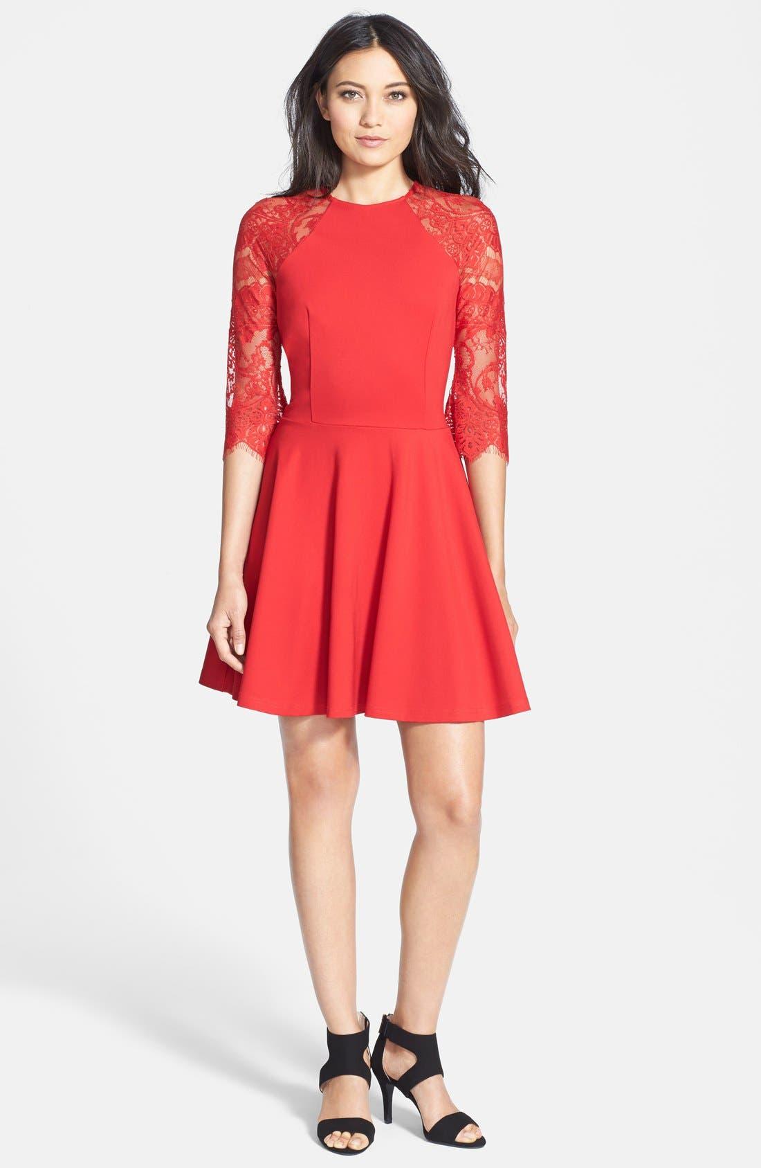 BB DAKOTA, 'Yale' Lace Panel Fit & Flare Dress, Alternate thumbnail 3, color, 600