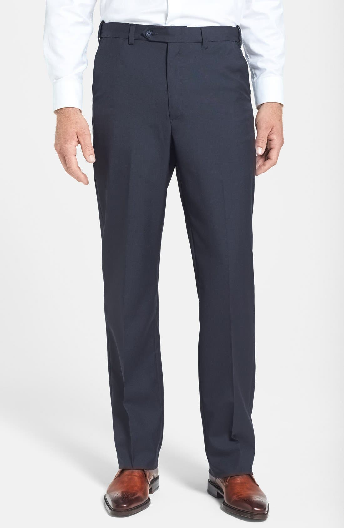 BERLE, Self Sizer Waist Tropical Weight Flat Front Trousers, Main thumbnail 1, color, NAVY
