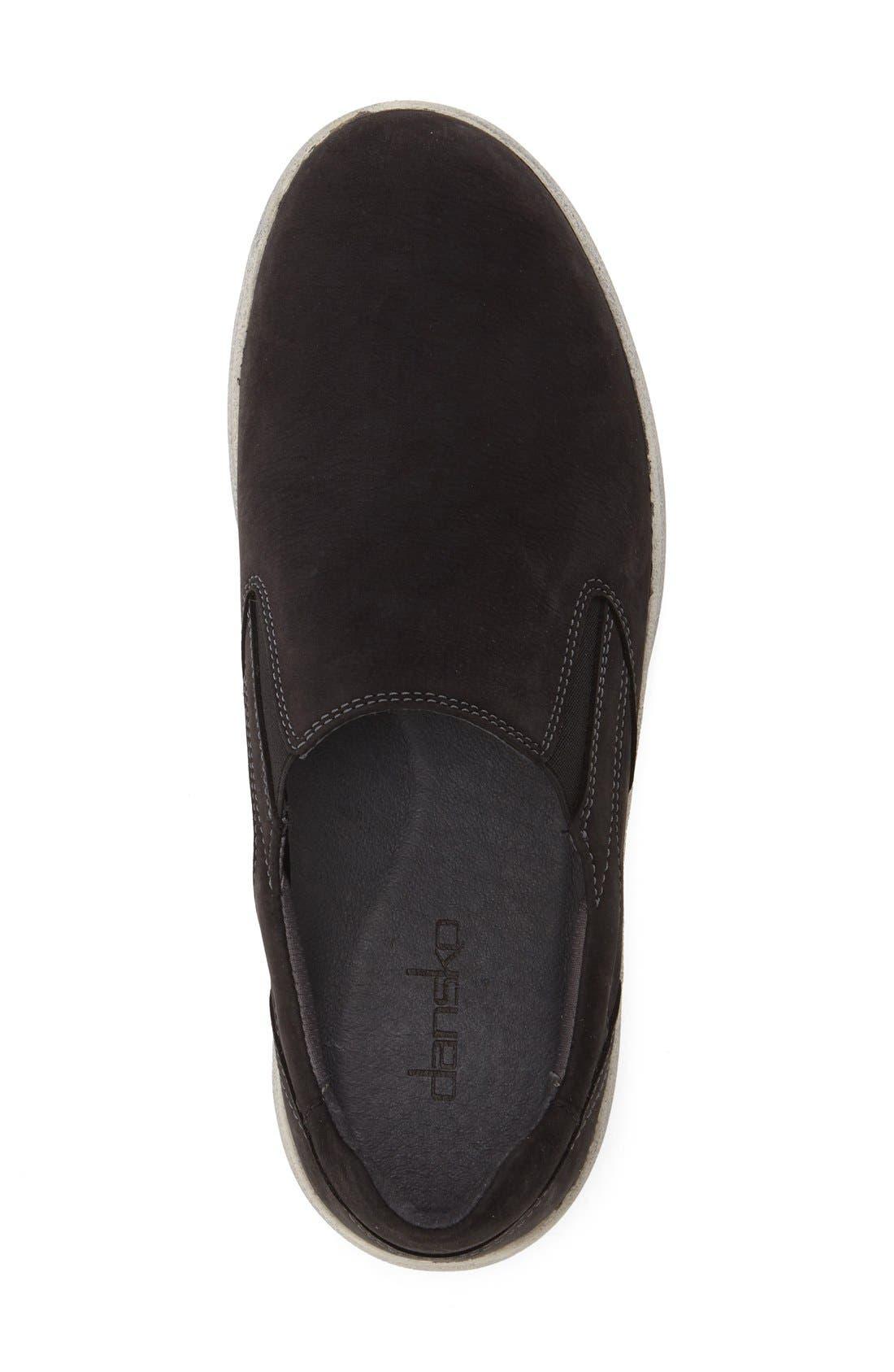DANSKO, 'Viktor' Water Resistant Slip-On Sneaker, Alternate thumbnail 3, color, BLACK MILLED NUBUCK LEATHER