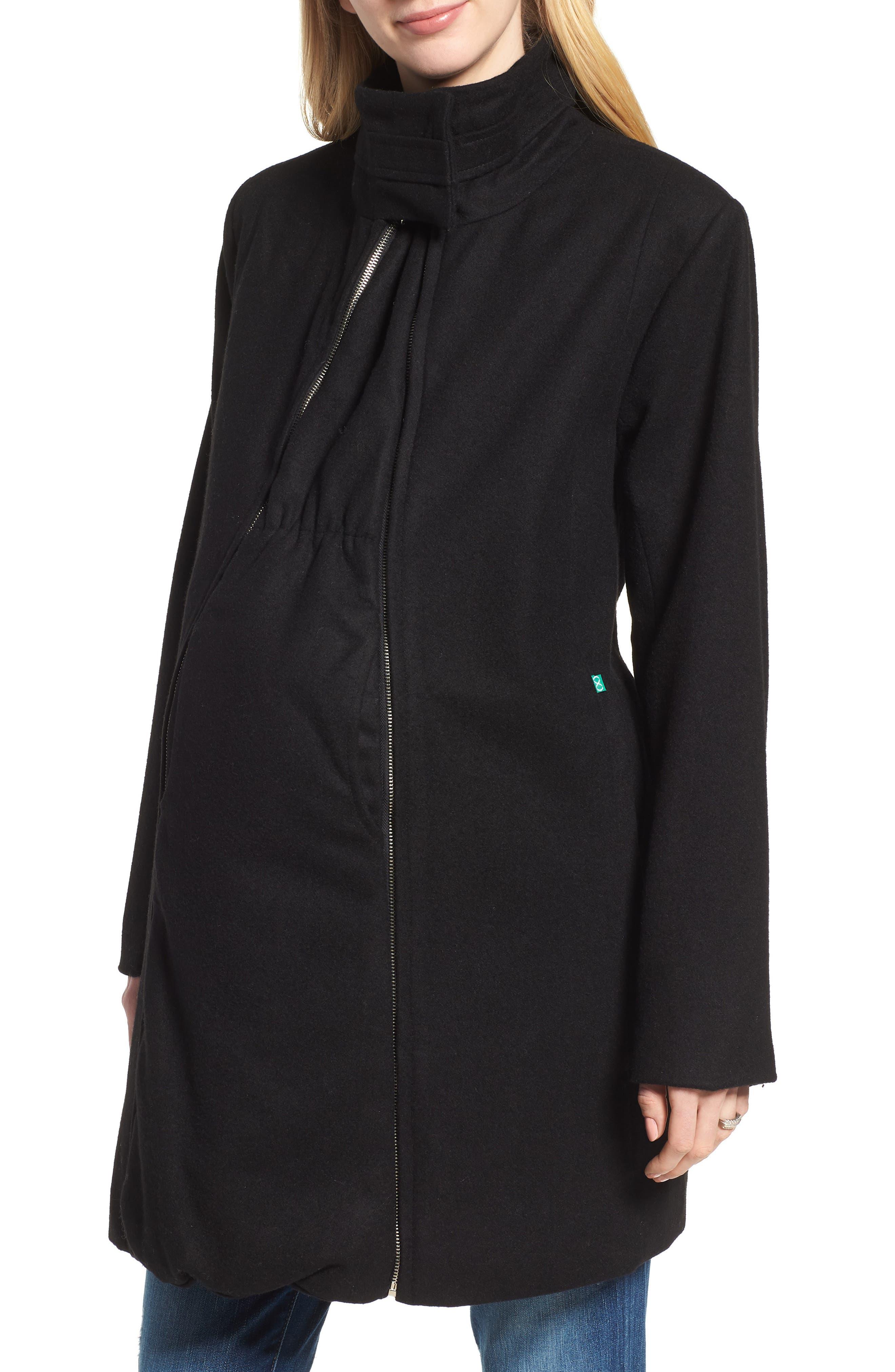 MODERN ETERNITY, Convertible 3-in-1 Maternity/Nursing Coat, Main thumbnail 1, color, BLACK