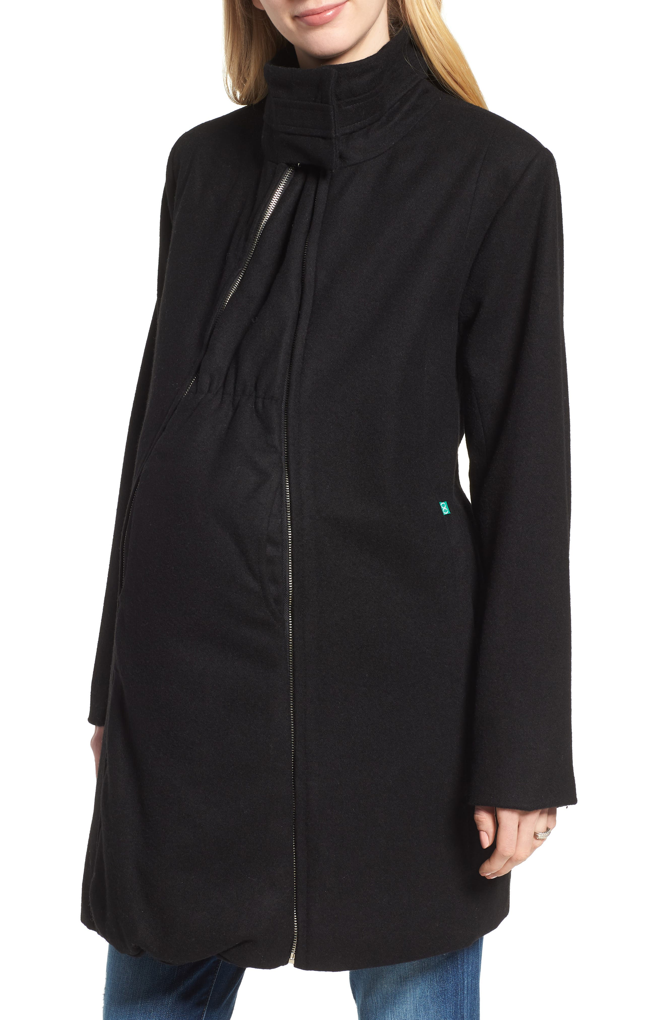 MODERN ETERNITY Convertible 3-in-1 Maternity/Nursing Coat, Main, color, BLACK