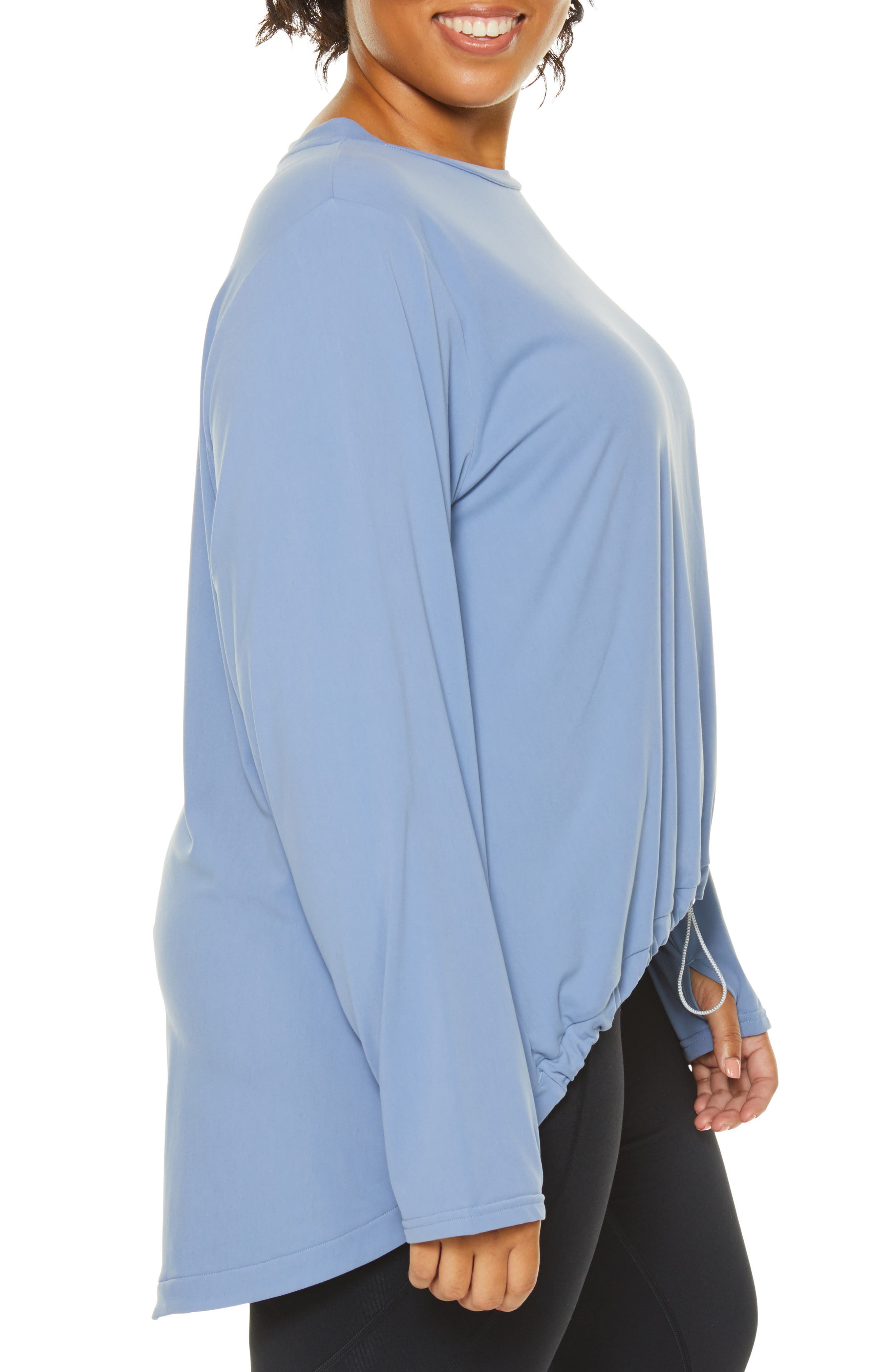 SHAPE ACTIVEWEAR, Opt Out High/Low Sweatshirt, Alternate thumbnail 4, color, INFINITY