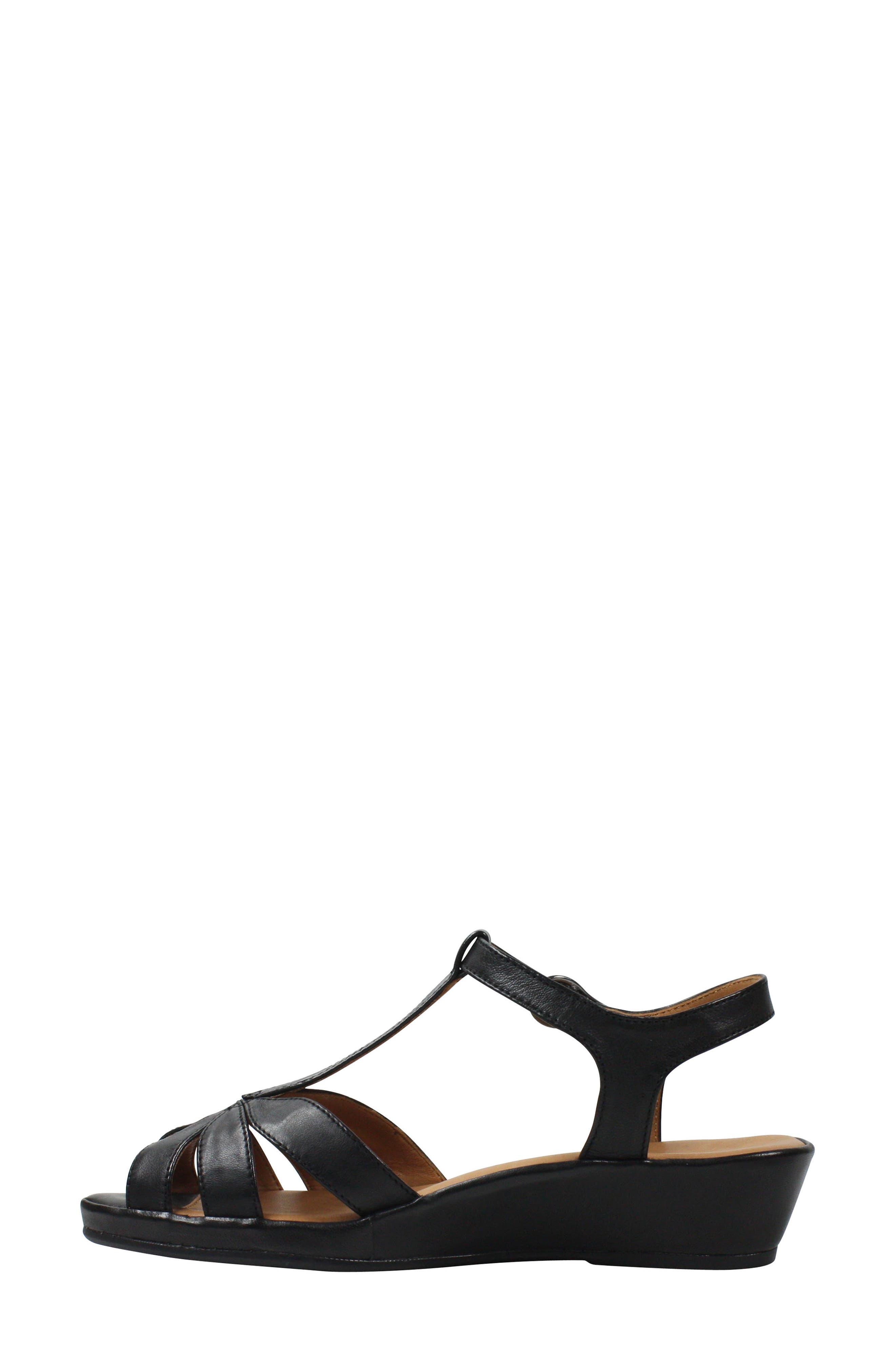 L'AMOUR DES PIEDS, Boquin Sandal, Alternate thumbnail 6, color, BLACK LEATHER