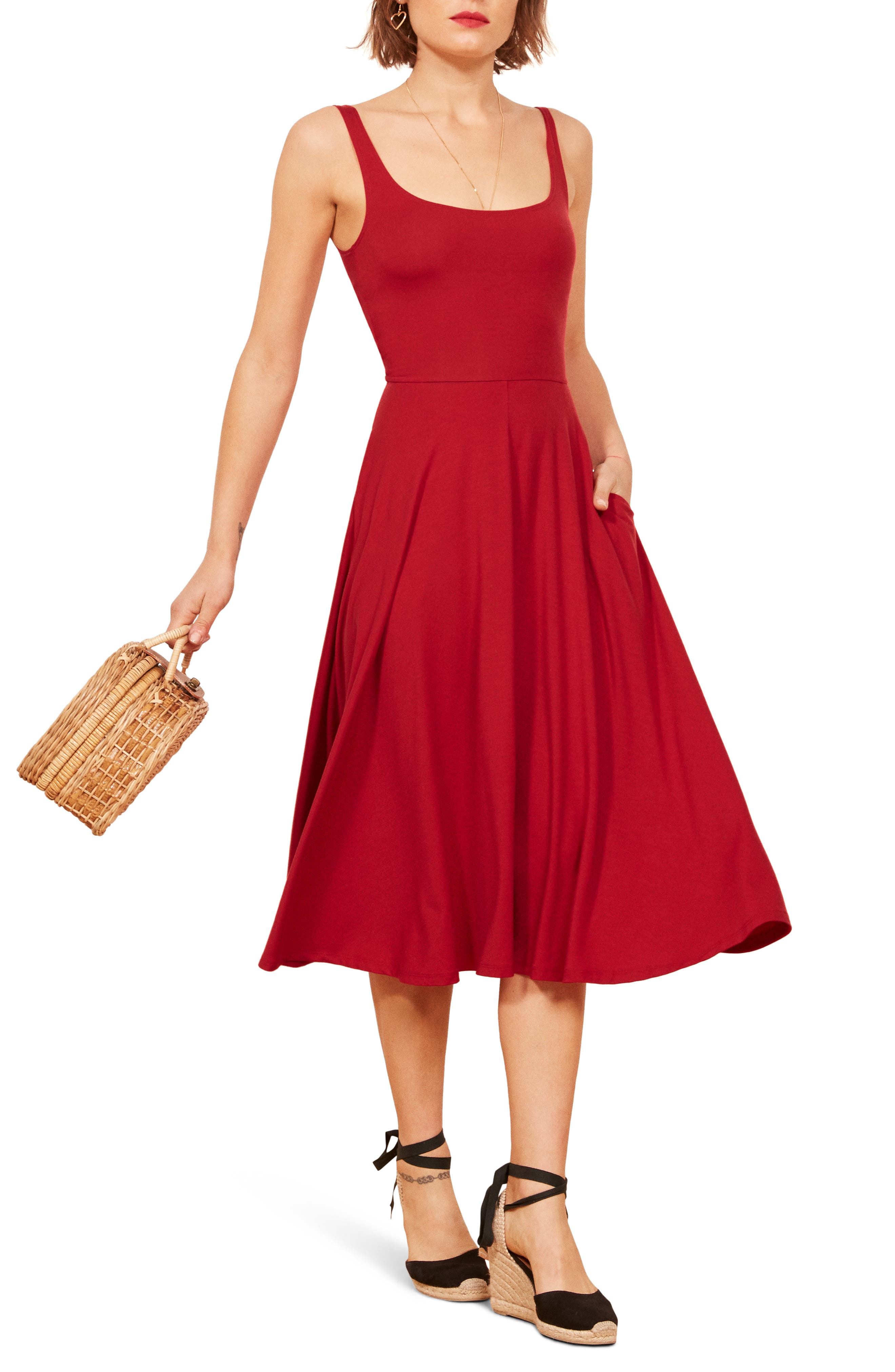 REFORMATION Rou Midi Fit & Flare Dress, Main, color, CHERRY