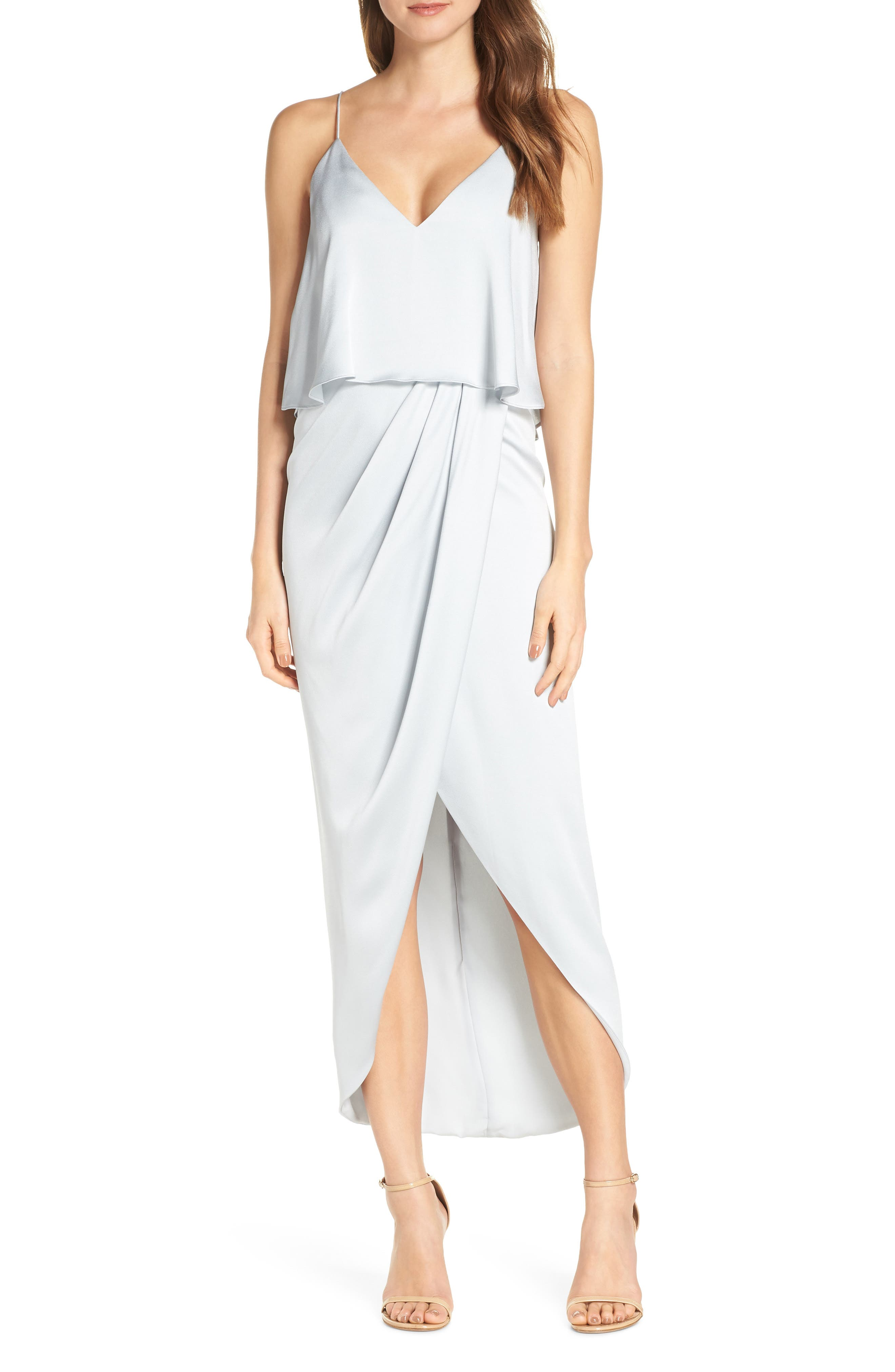SHONA JOY, Luxe Frill Tulip Hem Maxi Dress, Main thumbnail 1, color, CLOUD