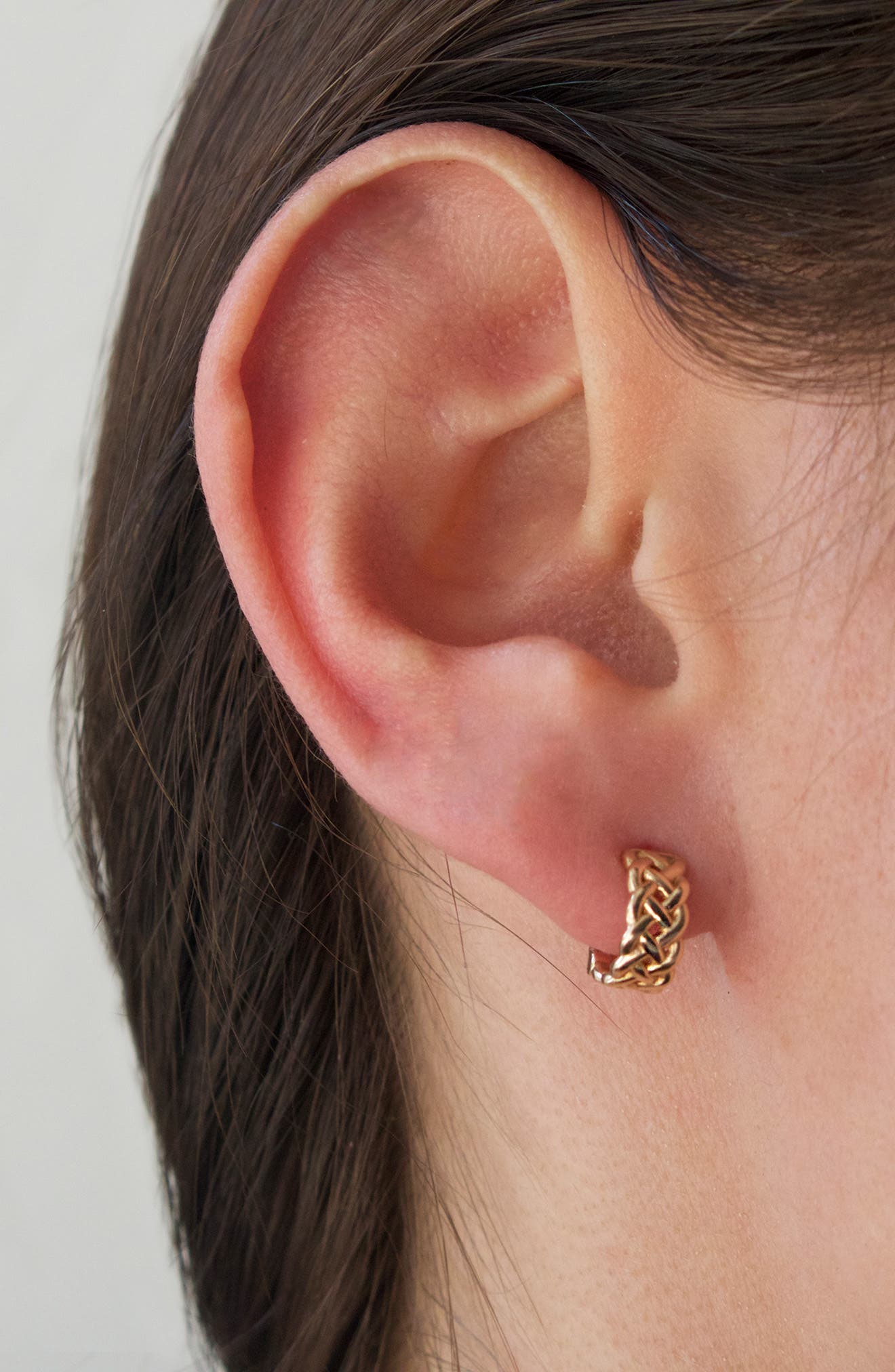 KISMET BY MILKA, Single Braided Gold Hoop Earring, Alternate thumbnail 3, color, ROSE GOLD