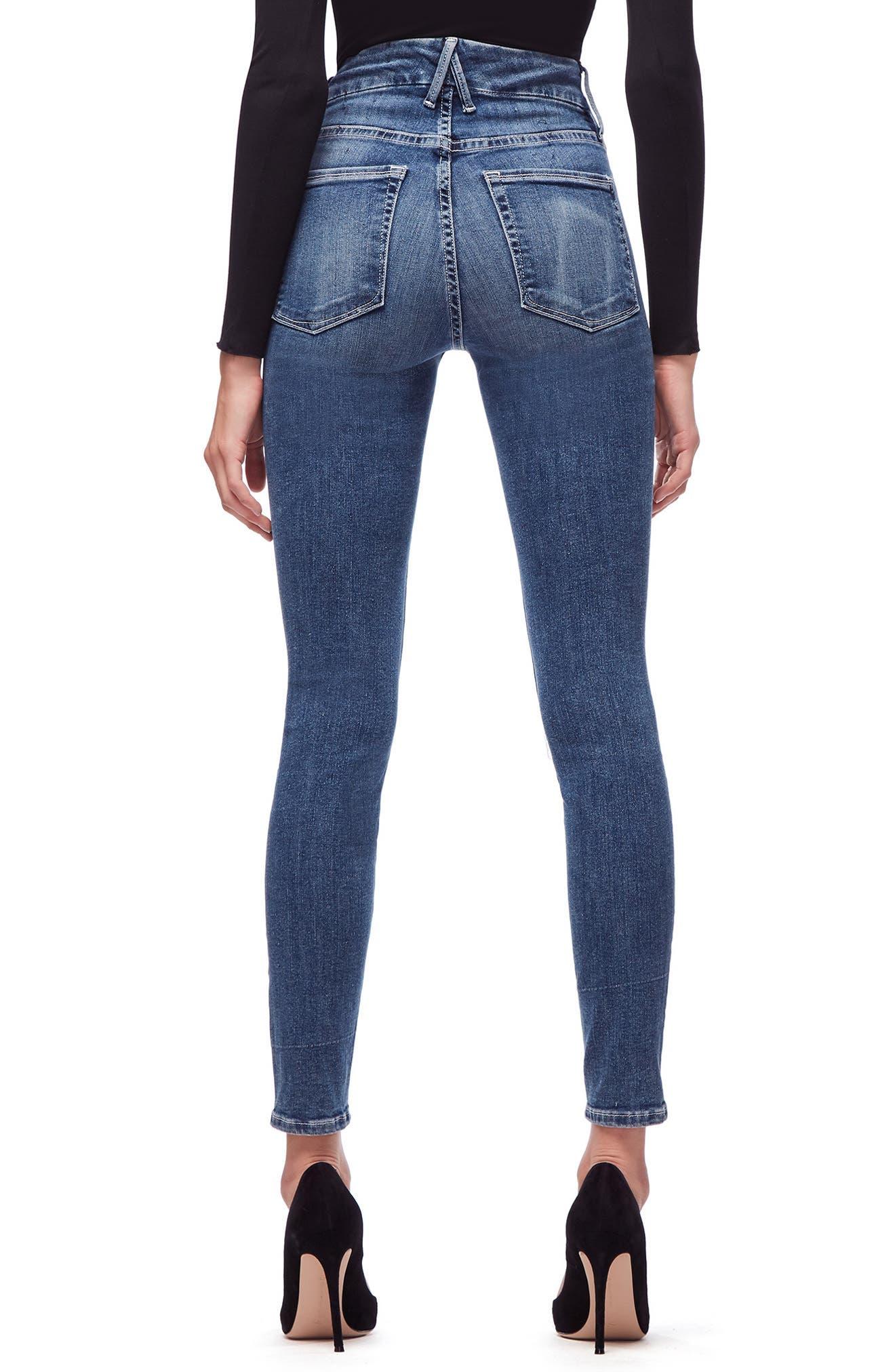 GOOD AMERICAN, Good Legs High Waist Skinny Jeans, Alternate thumbnail 4, color, BLUE186