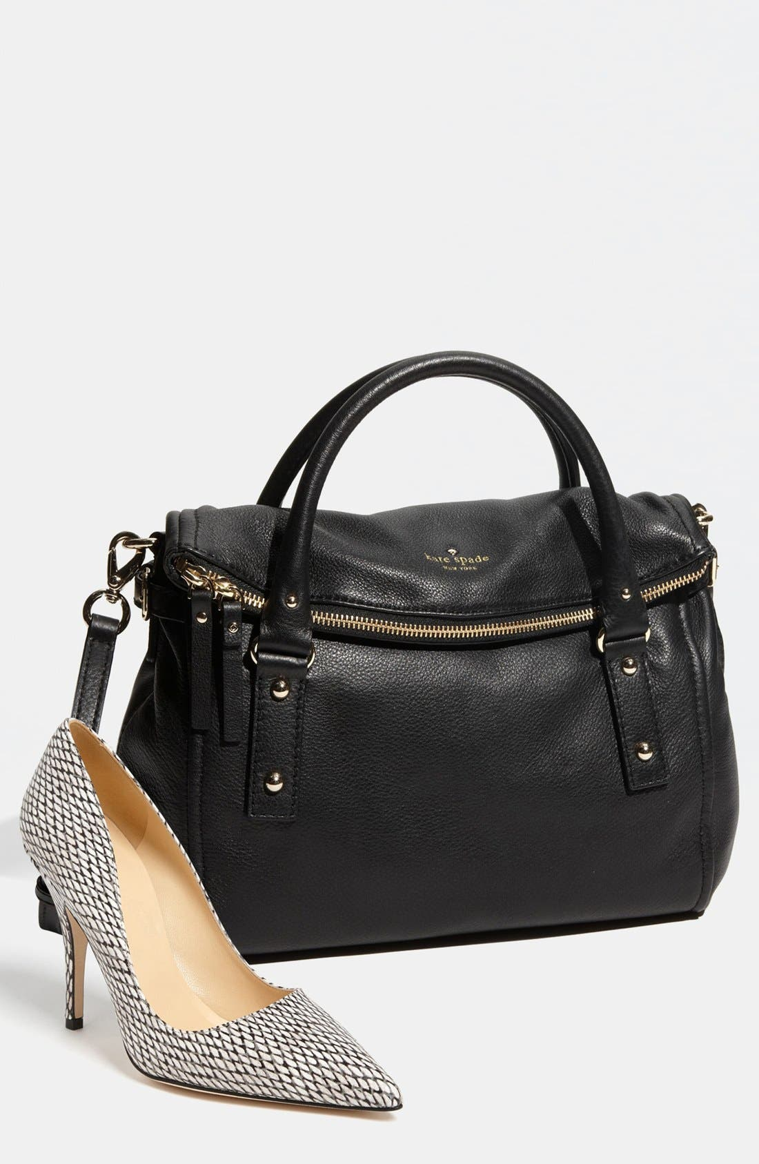KATE SPADE NEW YORK, 'cobble hill - leslie small' leather satchel, Alternate thumbnail 2, color, 001
