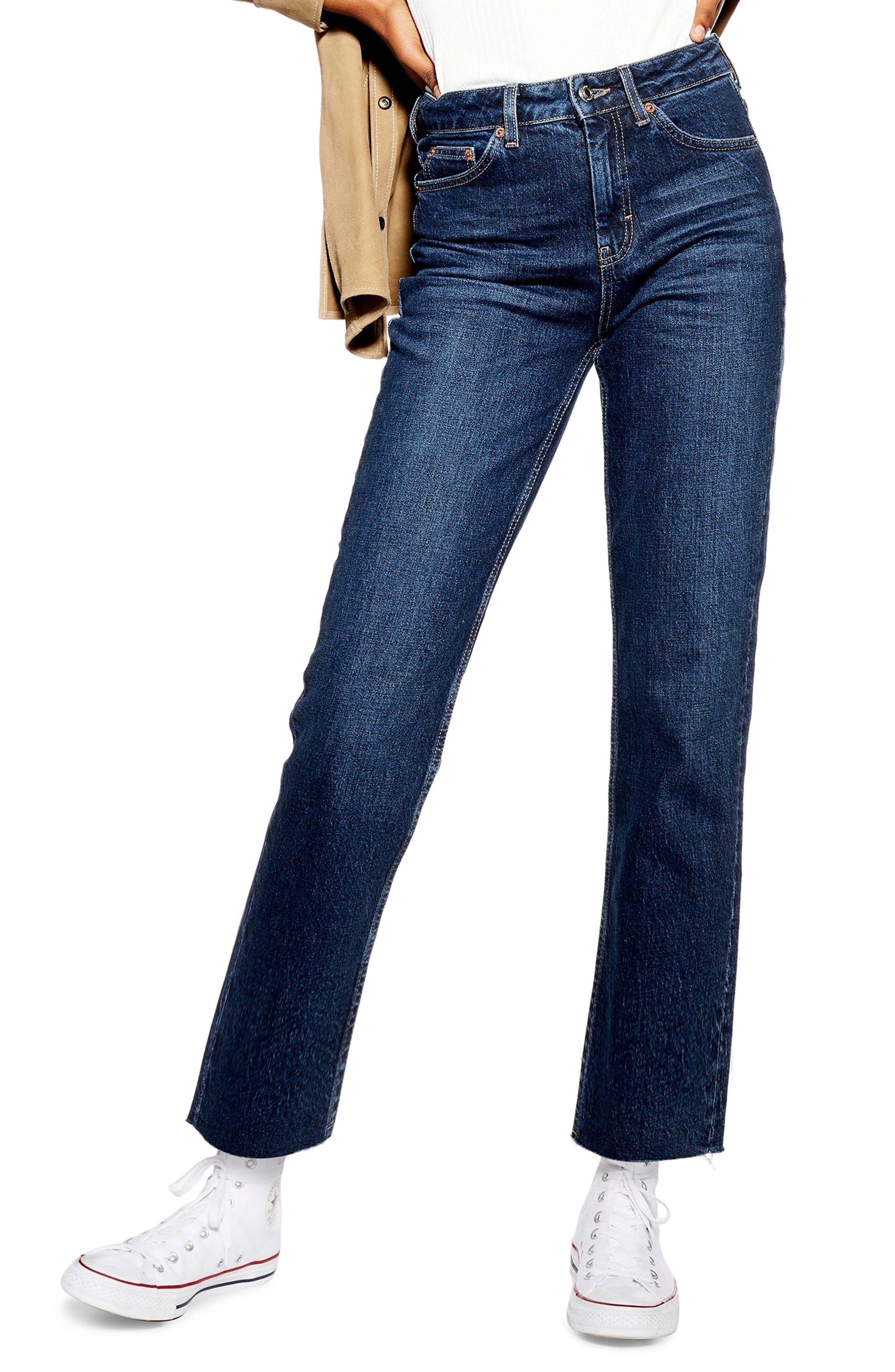 TOPSHOP Raw Hem Straight Leg Jeans, Main, color, INDIGO