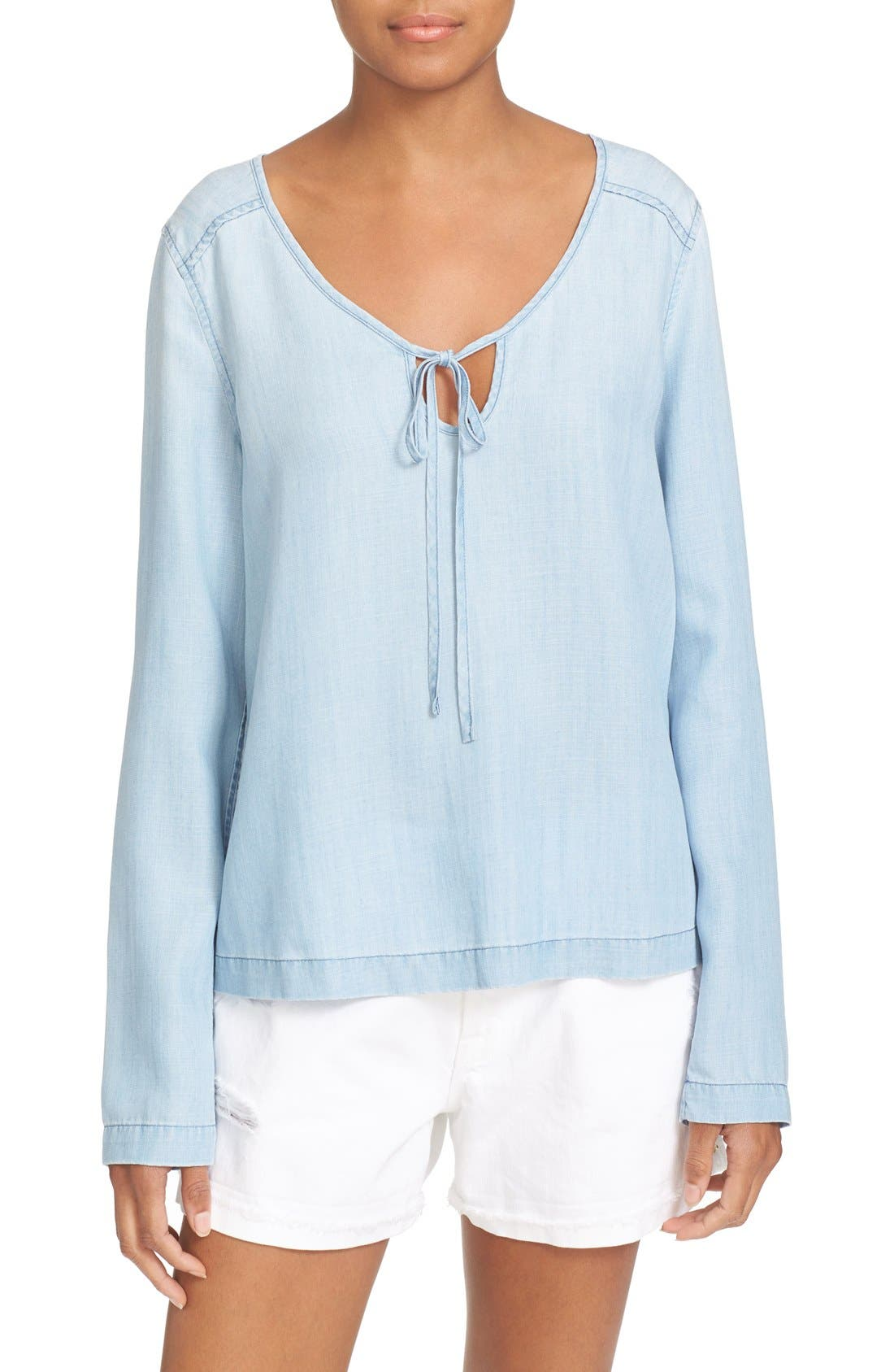FRAME Chambray Blouse, Main, color, 402