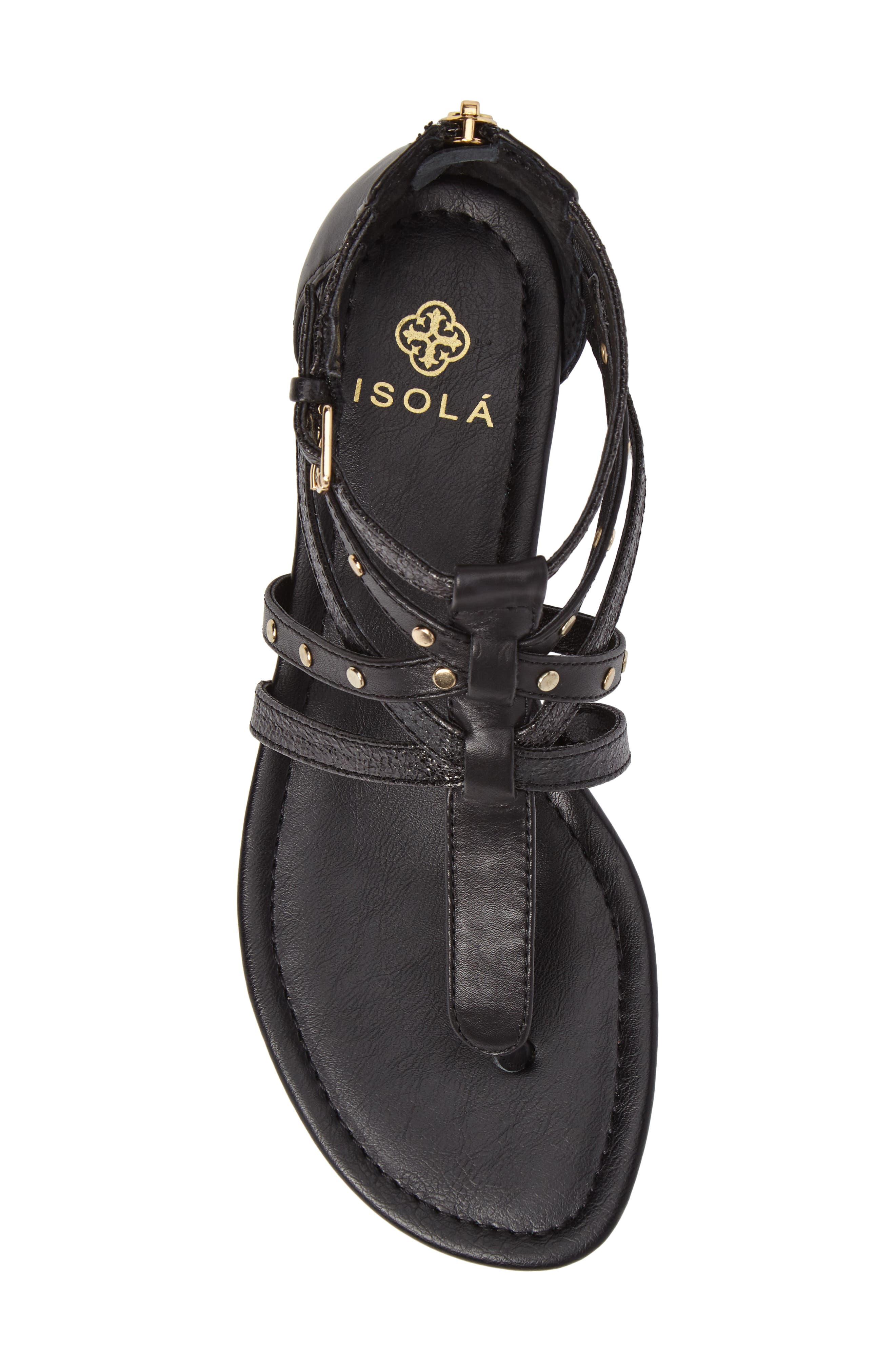 ISOLÁ, Melara T-Strap Gladiator Sandal, Alternate thumbnail 5, color, BLACK LEATHER
