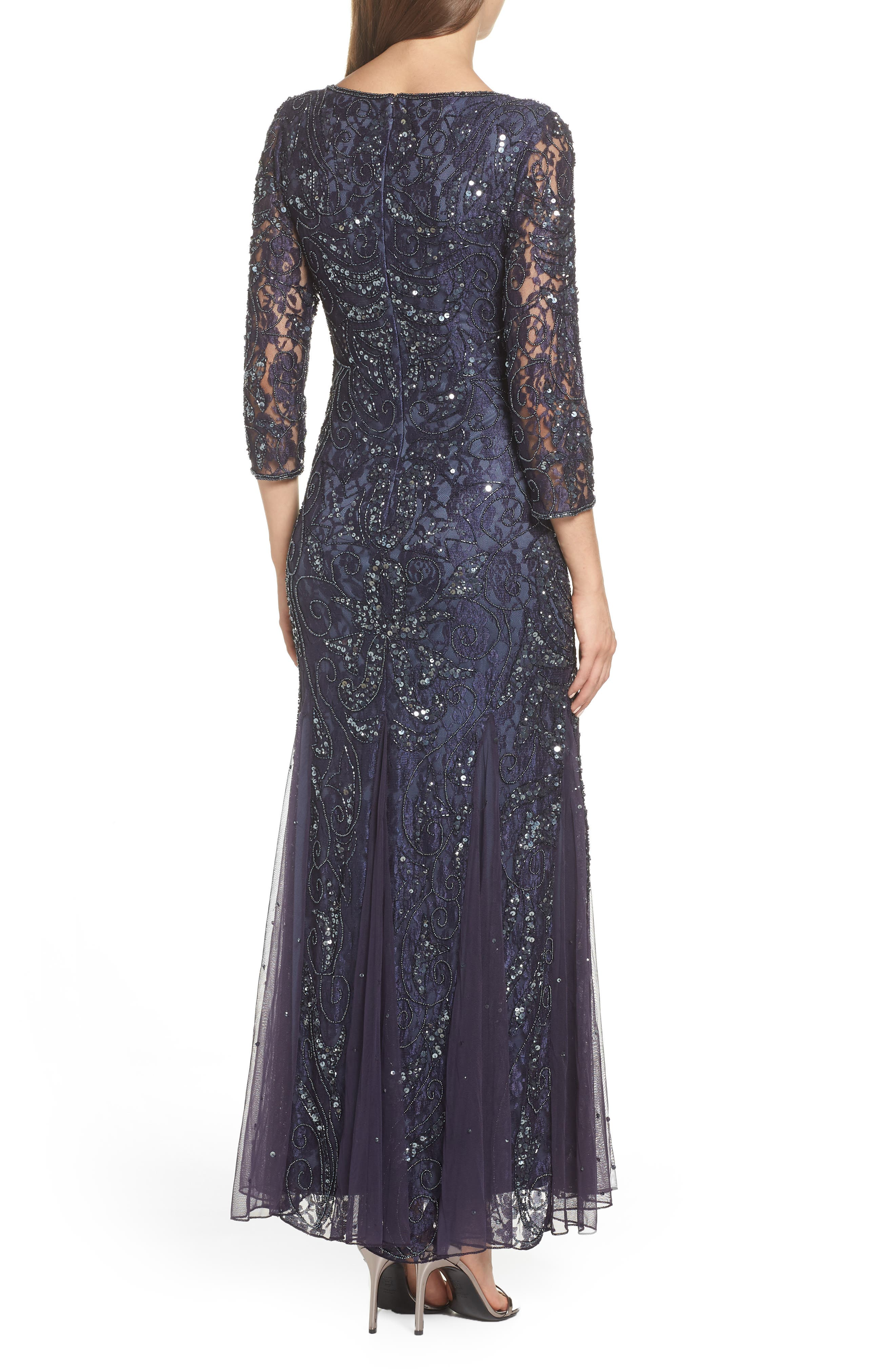 PISARRO NIGHTS, Beaded Lace Gown, Alternate thumbnail 2, color, 020