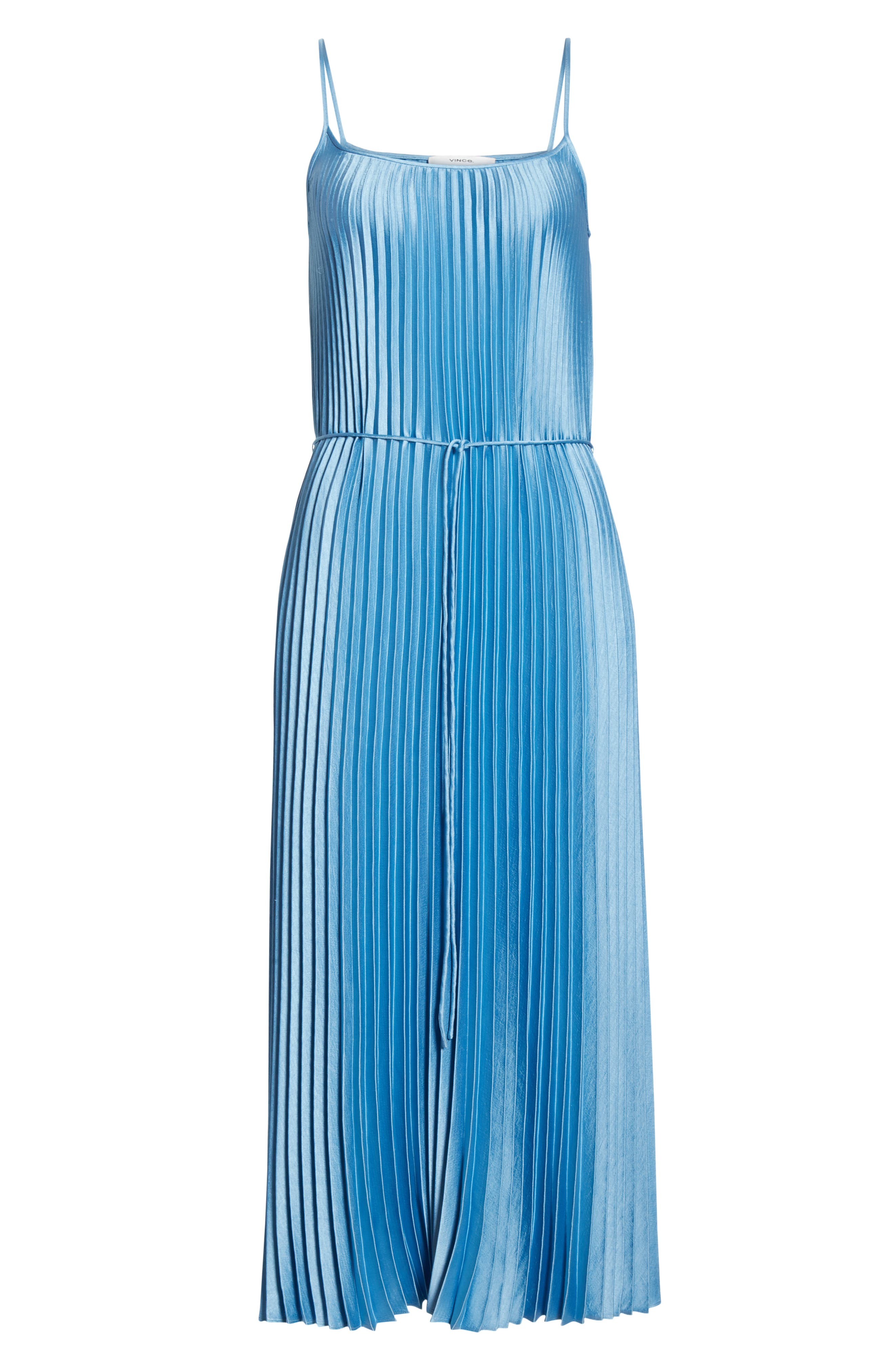 VINCE, Pleated Satin Slipdress, Alternate thumbnail 8, color, BLUE PUMICE