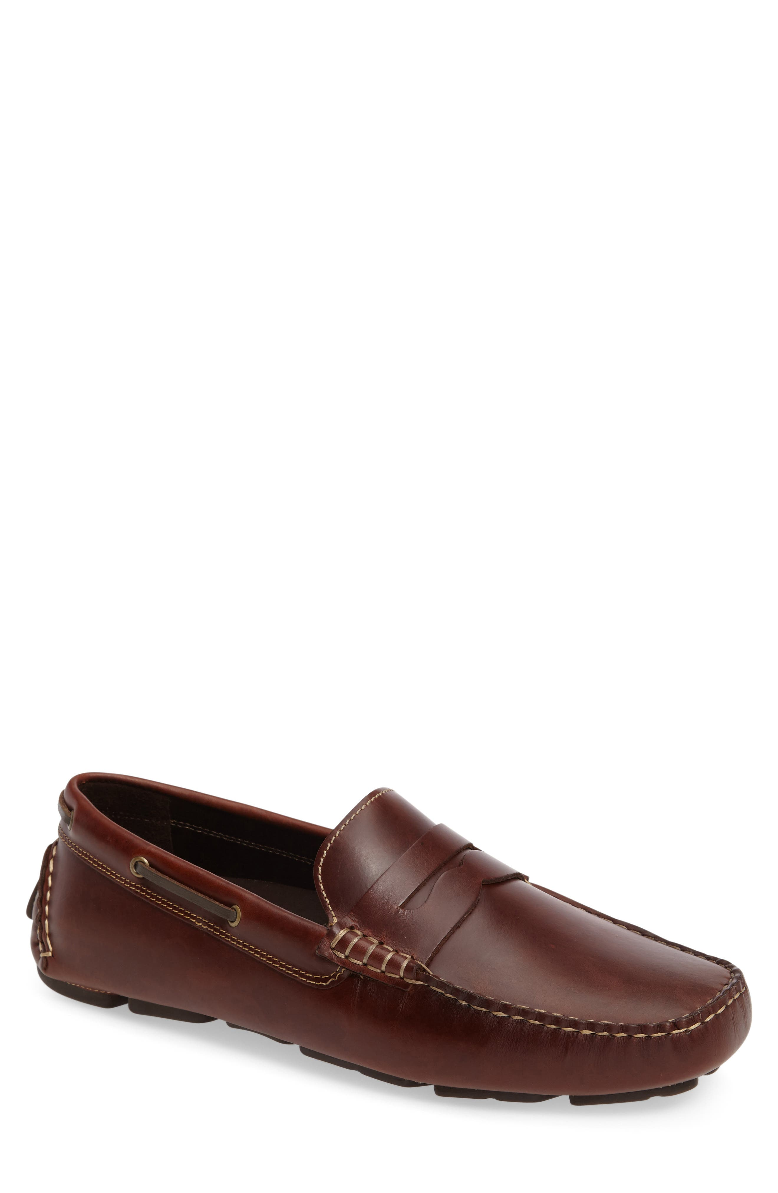 JOHNSTON & MURPHY Gibson Penny Driving Loafer, Main, color, TAN LEATHER