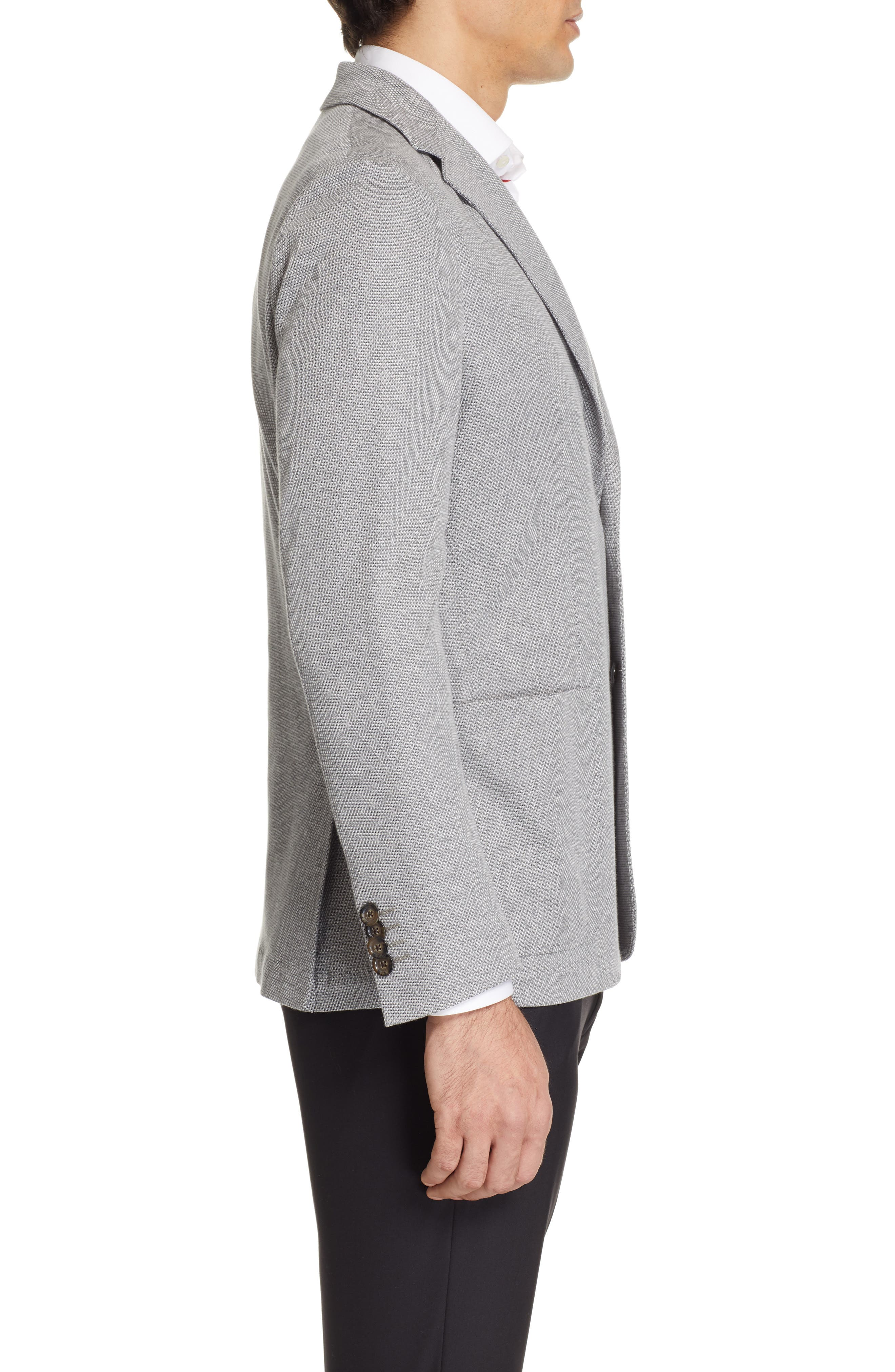 CANALI, Classic Fit Washed Sport Coat, Alternate thumbnail 3, color, LIGHT GREY