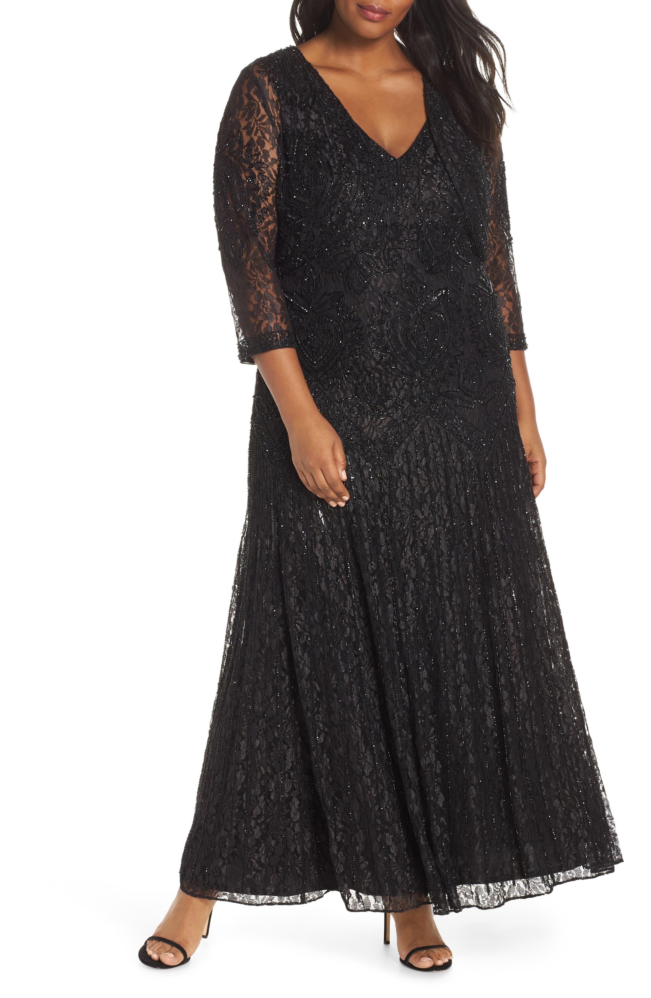 Plus Size Pisarro Nights Beaded Lace Evening Dress With Bolero, Black