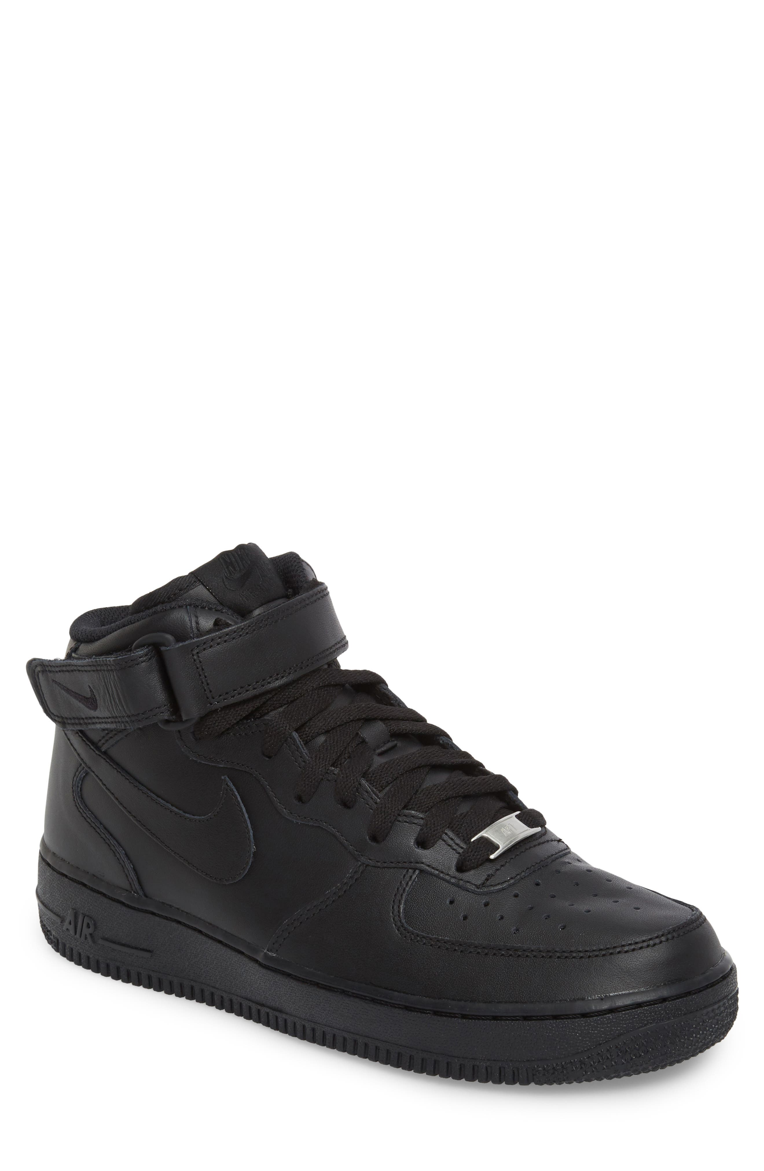 NIKE, Air Force 1 Mid '07 Sneaker, Main thumbnail 1, color, BLACK/ BLACK