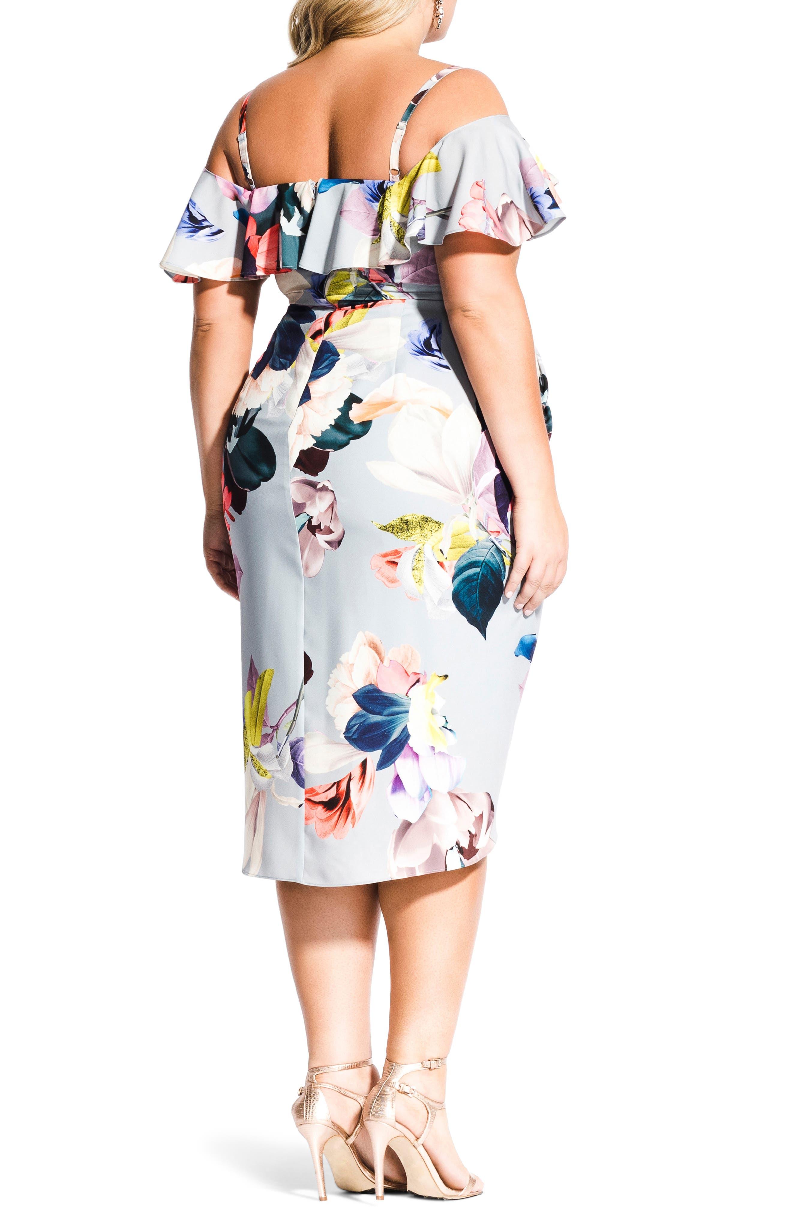 CITY CHIC, Contempo Cold Shoulder Floral Dress, Alternate thumbnail 2, color, CONTEMPORARY FL