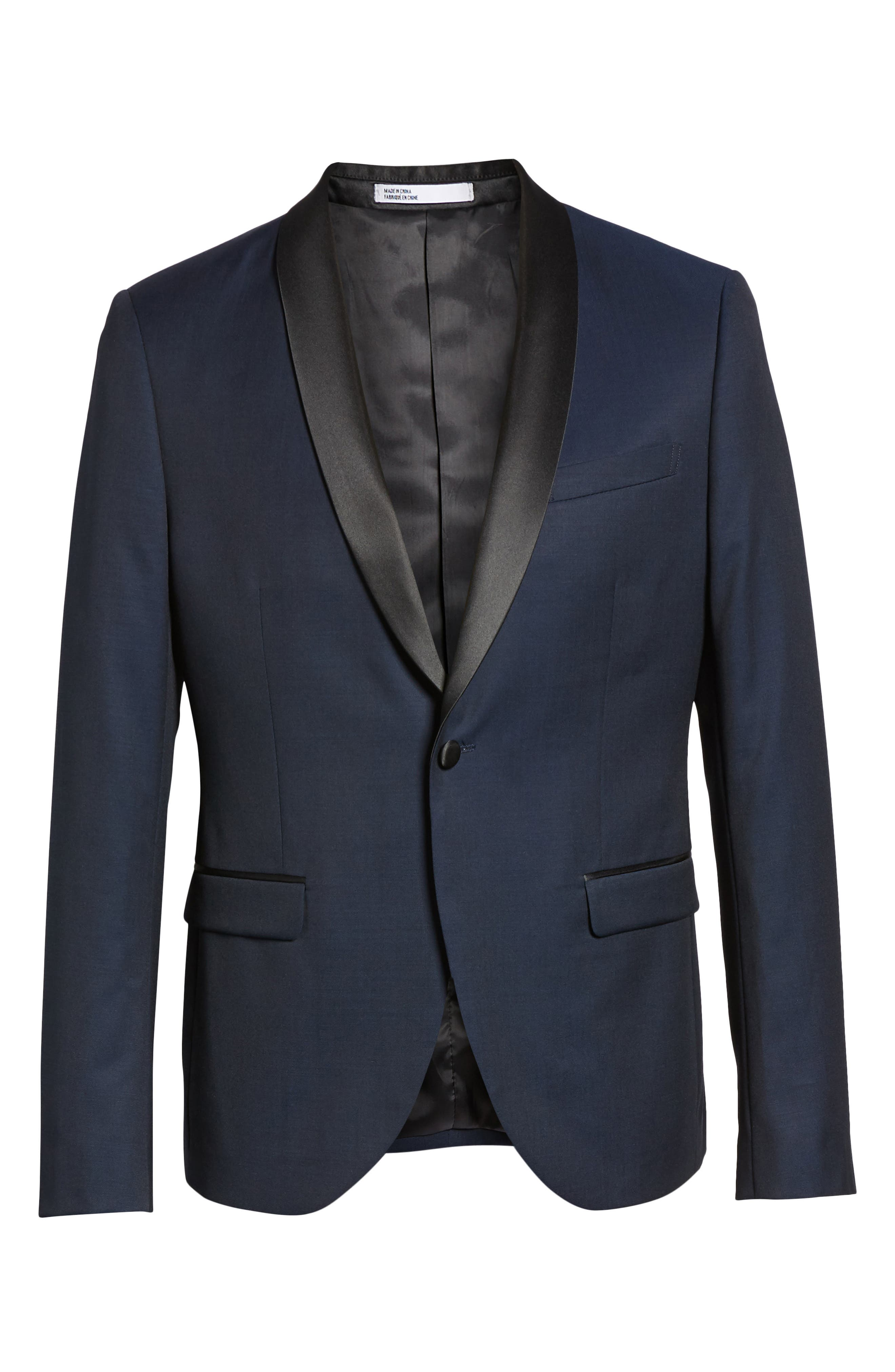 CALIBRATE, Extra Trim Fit Shawl Dinner Jacket, Alternate thumbnail 5, color, HIGH BLUE
