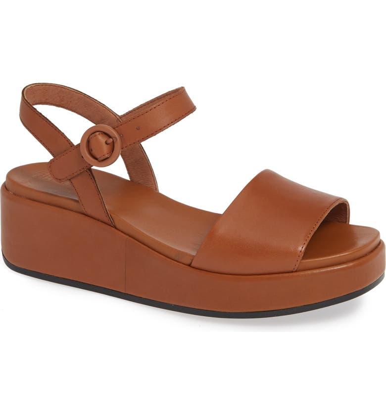 d45cb3173df Camper Misia Platform Wedge Sandal In Medium Brown Leather